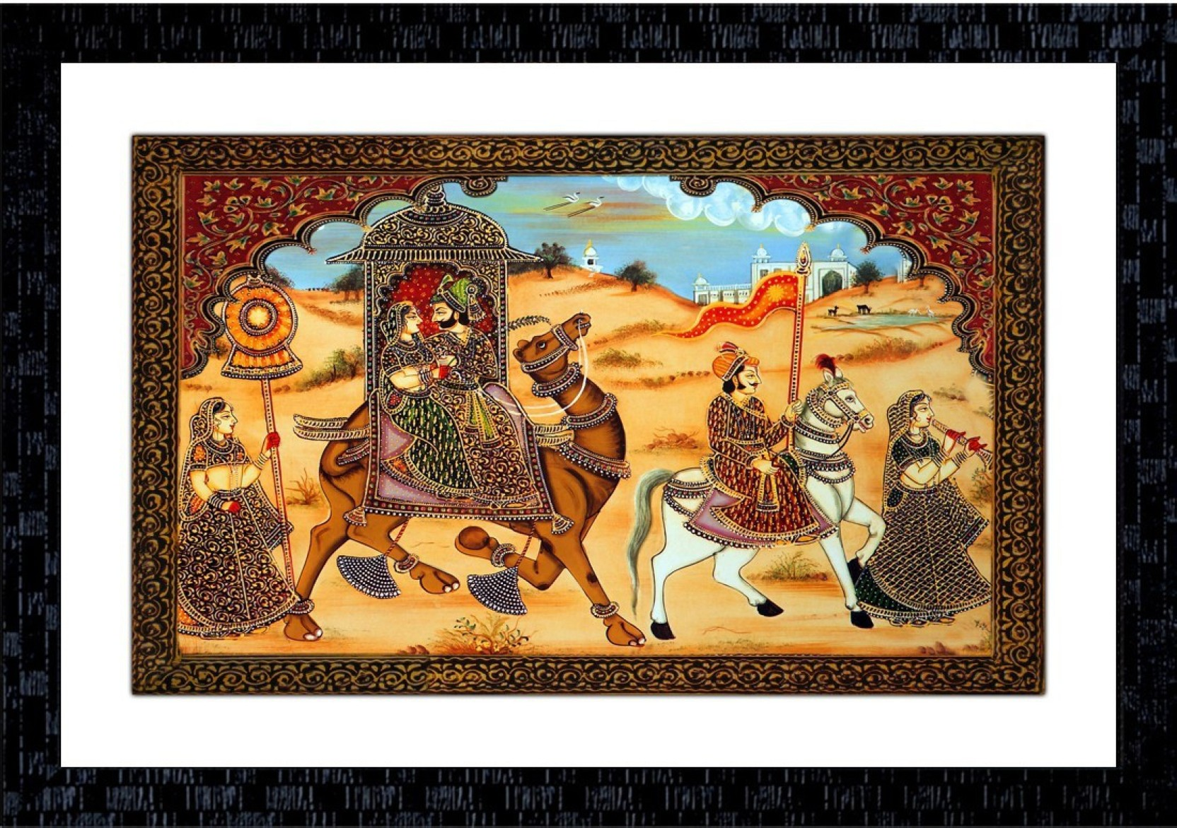 Janki online modern art canvas rajasthani miniature large glass wall paintings with frame for home decoration item for bedroom for sale canvas 14 inch x 20