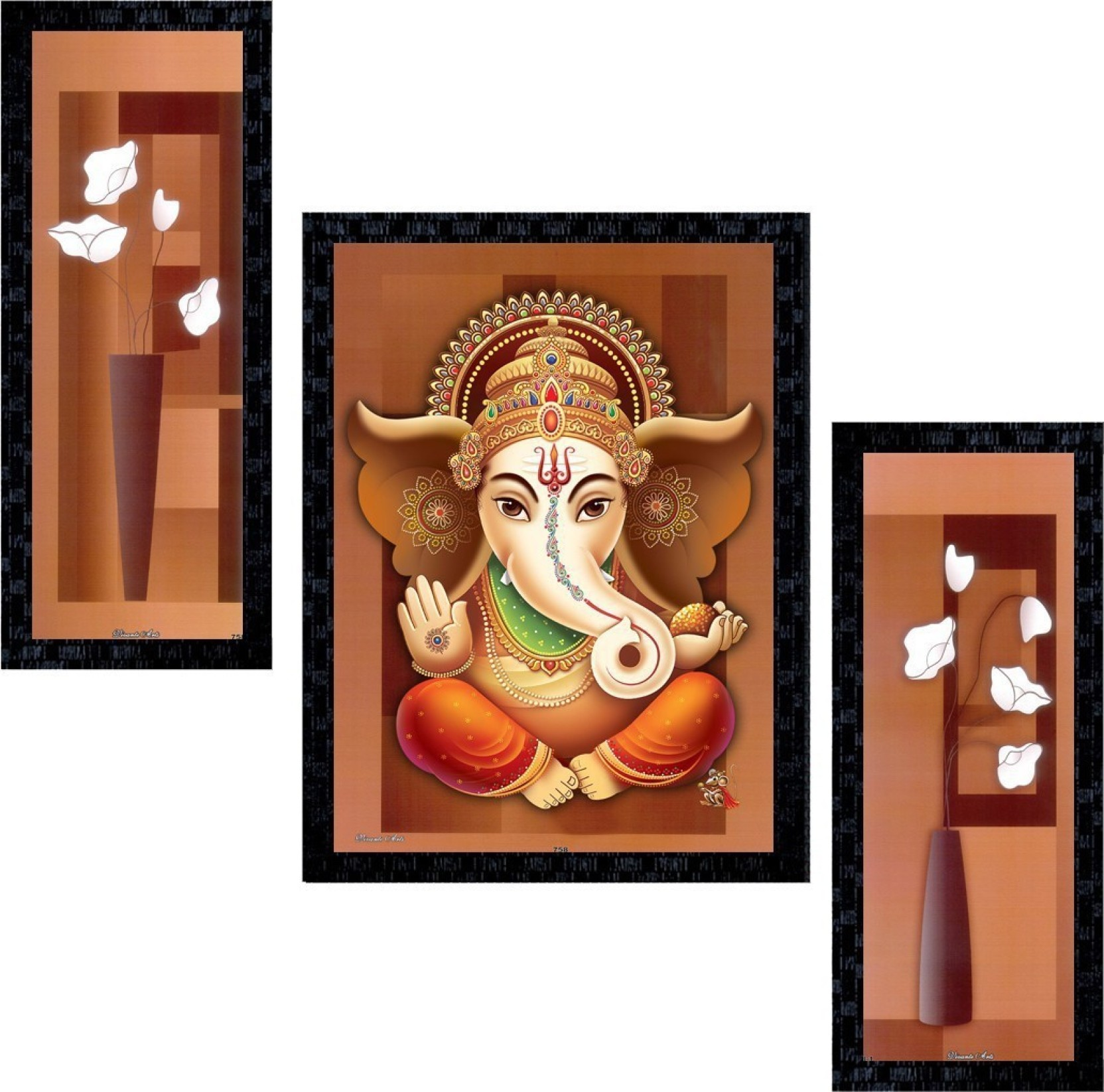 Janki online set of 3 god ganesha modern art glass framed wall painting for home office and temple and home décor digital reprint 14 inch x 11 inch painting