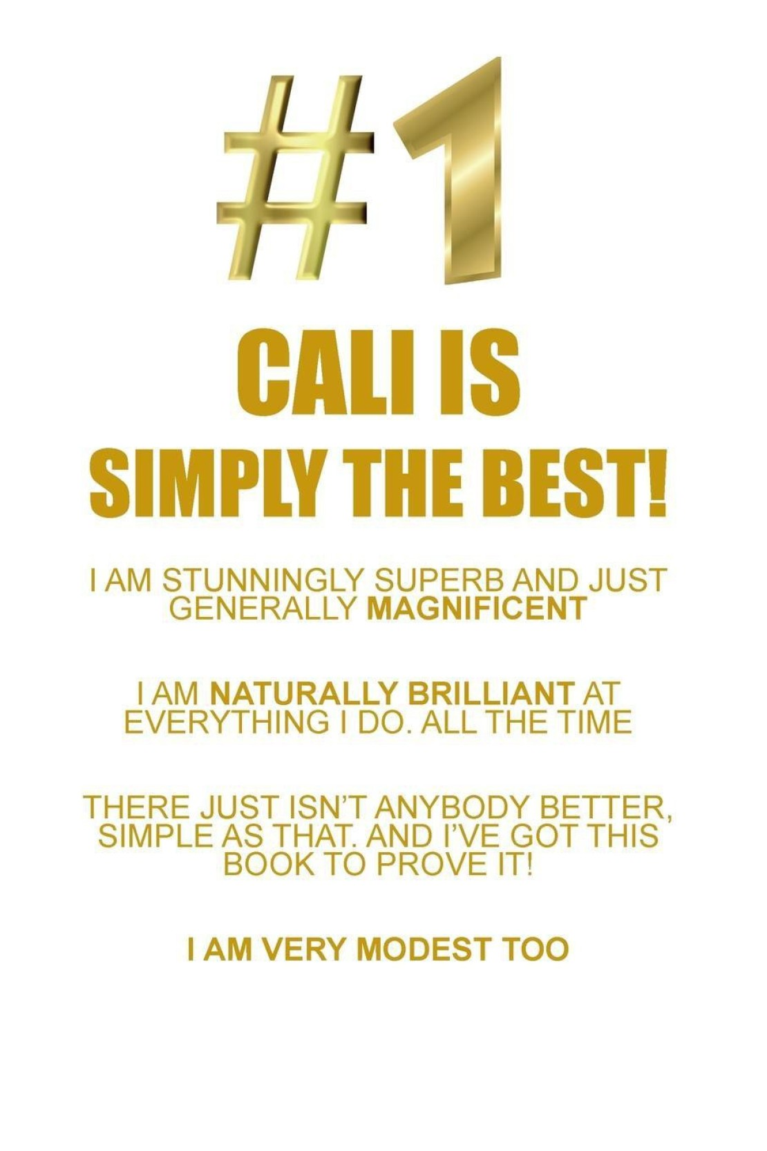 CALI IS SIMPLY THE BEST AFFIRMATIONS WORKBOOK Positive