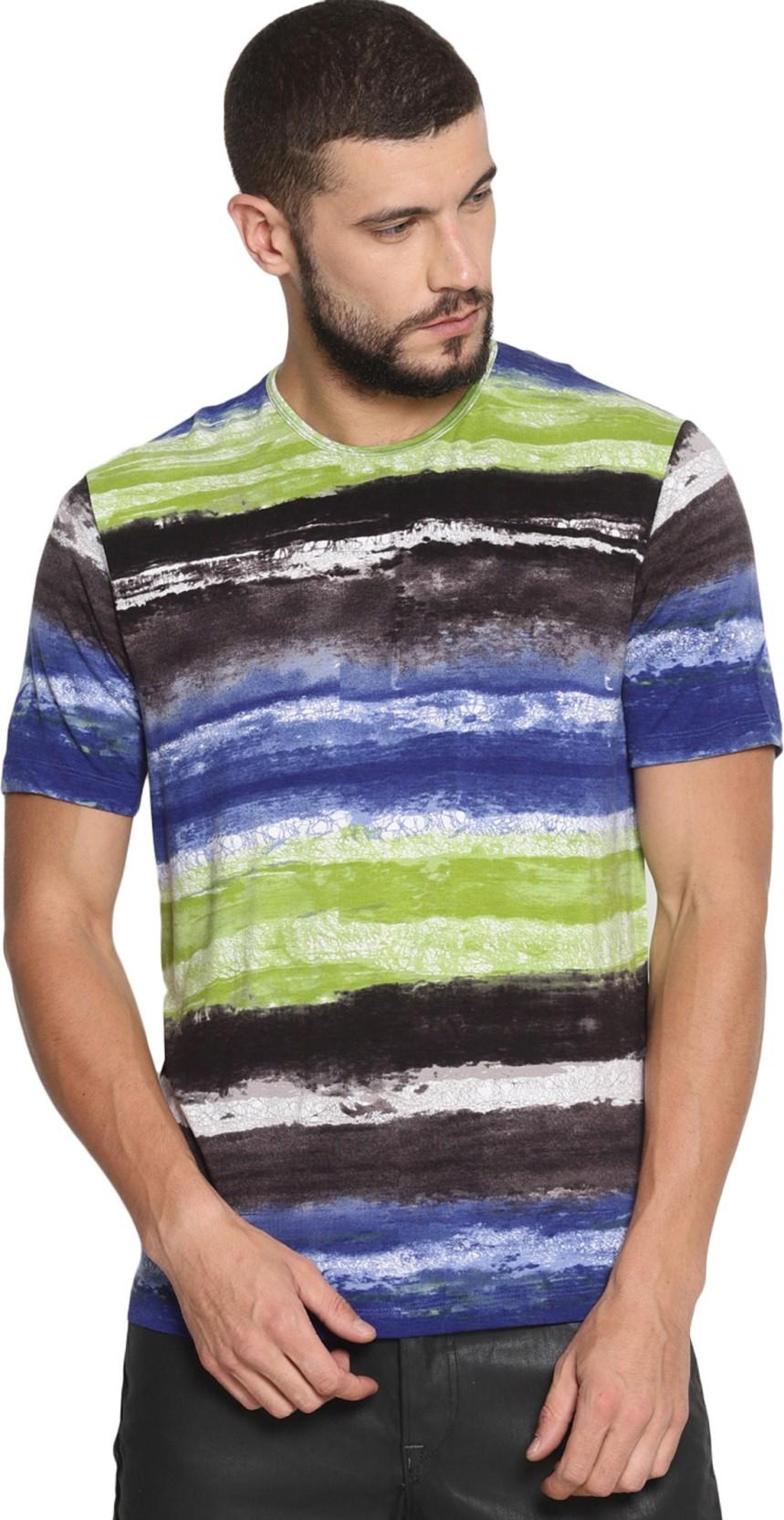 VUDU Abstract Men Round Neck Multicolor T-Shirt - Buy VUDU