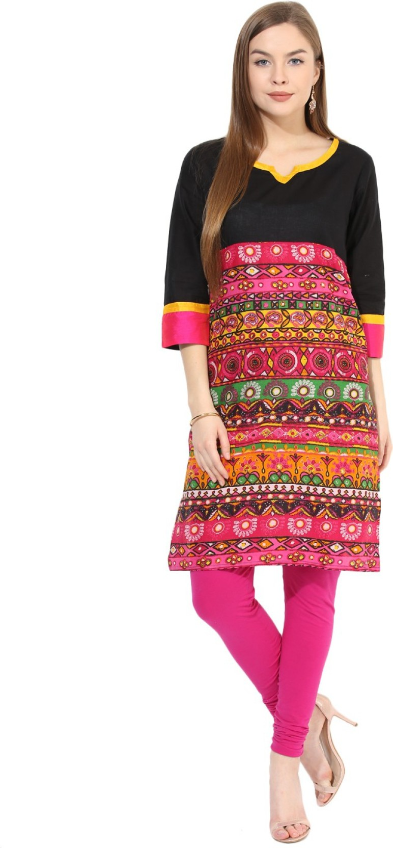 1299376c52c Aks Women s Printed Straight Kurta - Buy Black Aks Women s Printed ...