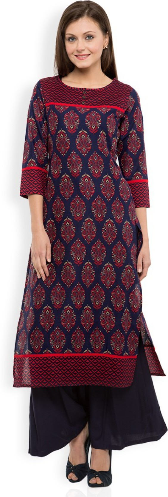 a7bc5b46c78 Vishudh Women s Printed Straight Kurta - Buy NAVY BLUE