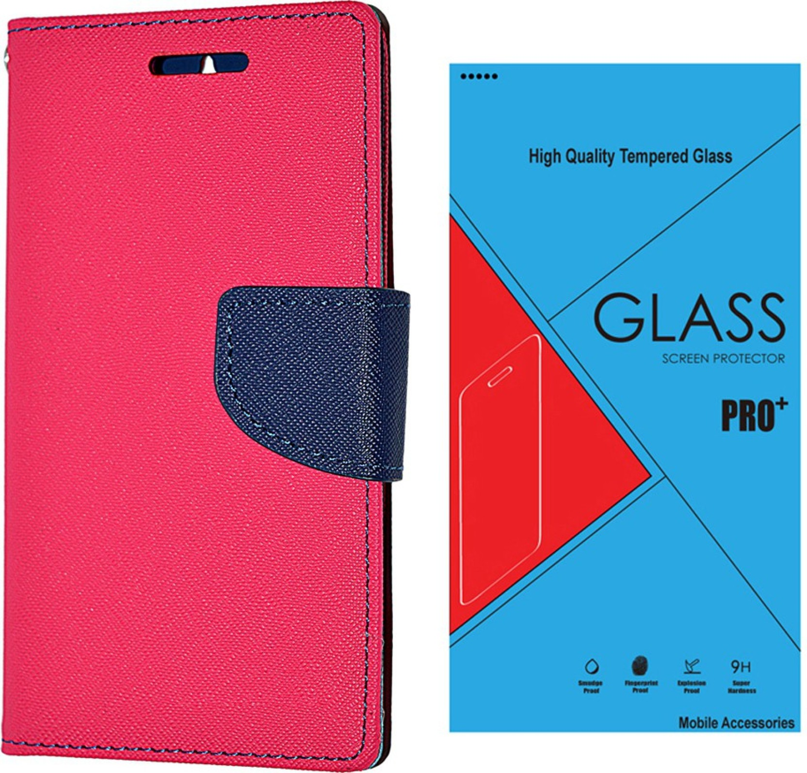 Goospery Premium Flip Cover For Samsung Galaxy Note 4 N910 Murc Tempered Glass 9h Quality Pink 2416 Share