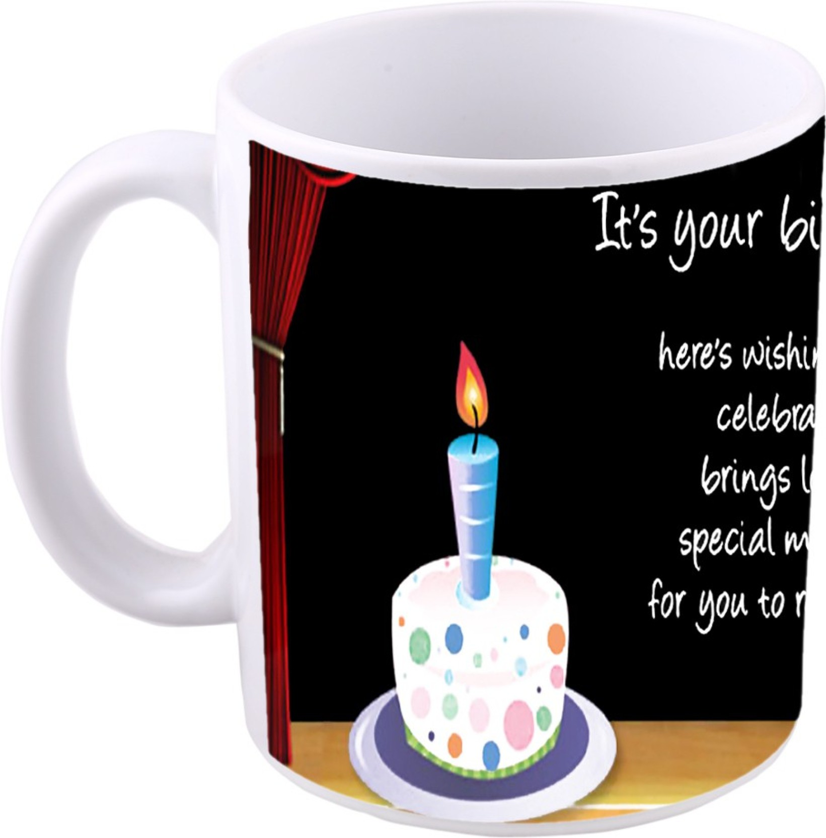 MS Happy Birthday Cake Gift Ceramic Mug 350 Ml