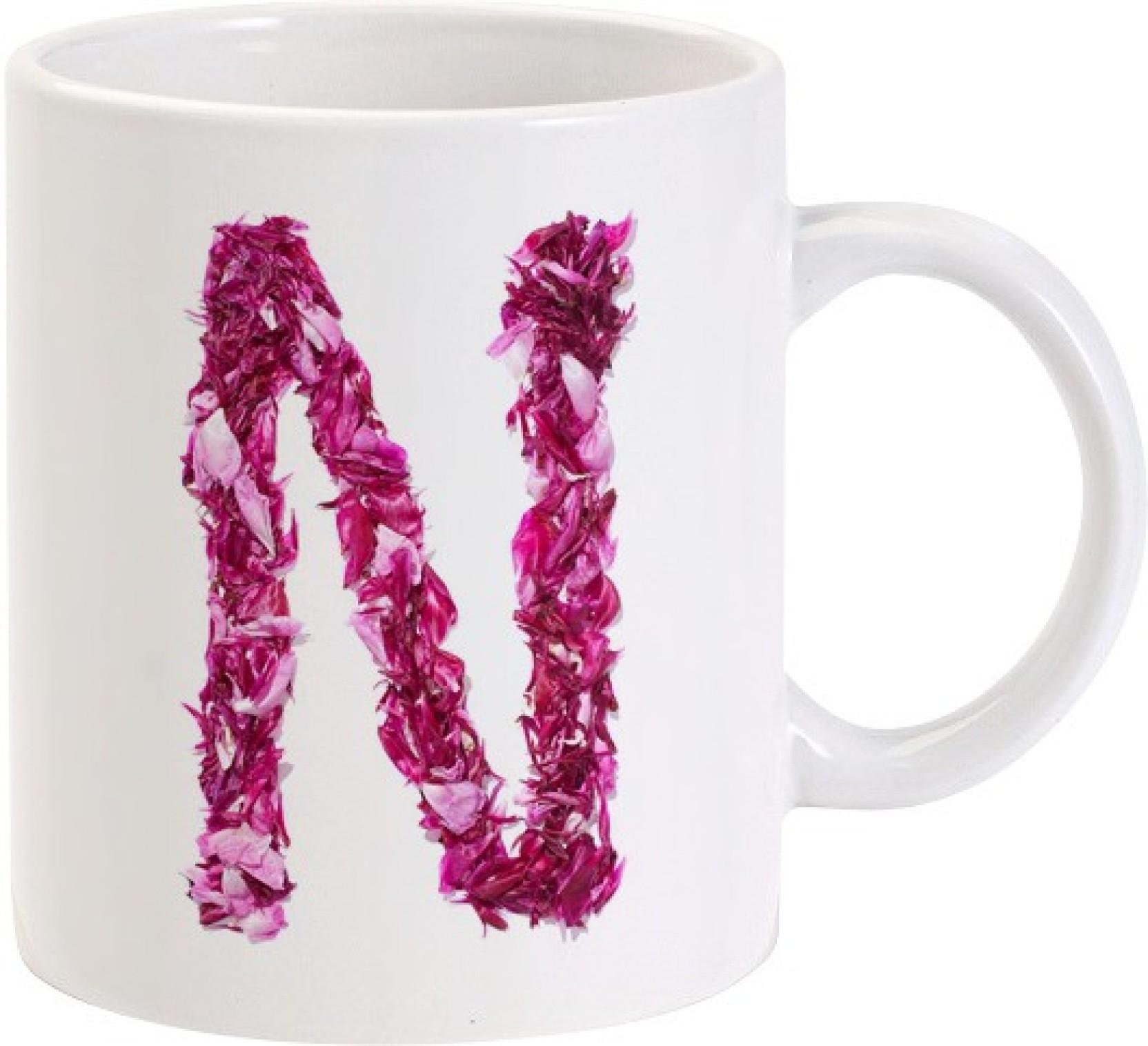 Lolprint N Flower Alphabet Letter Name Ceramic Mug Price in India ...