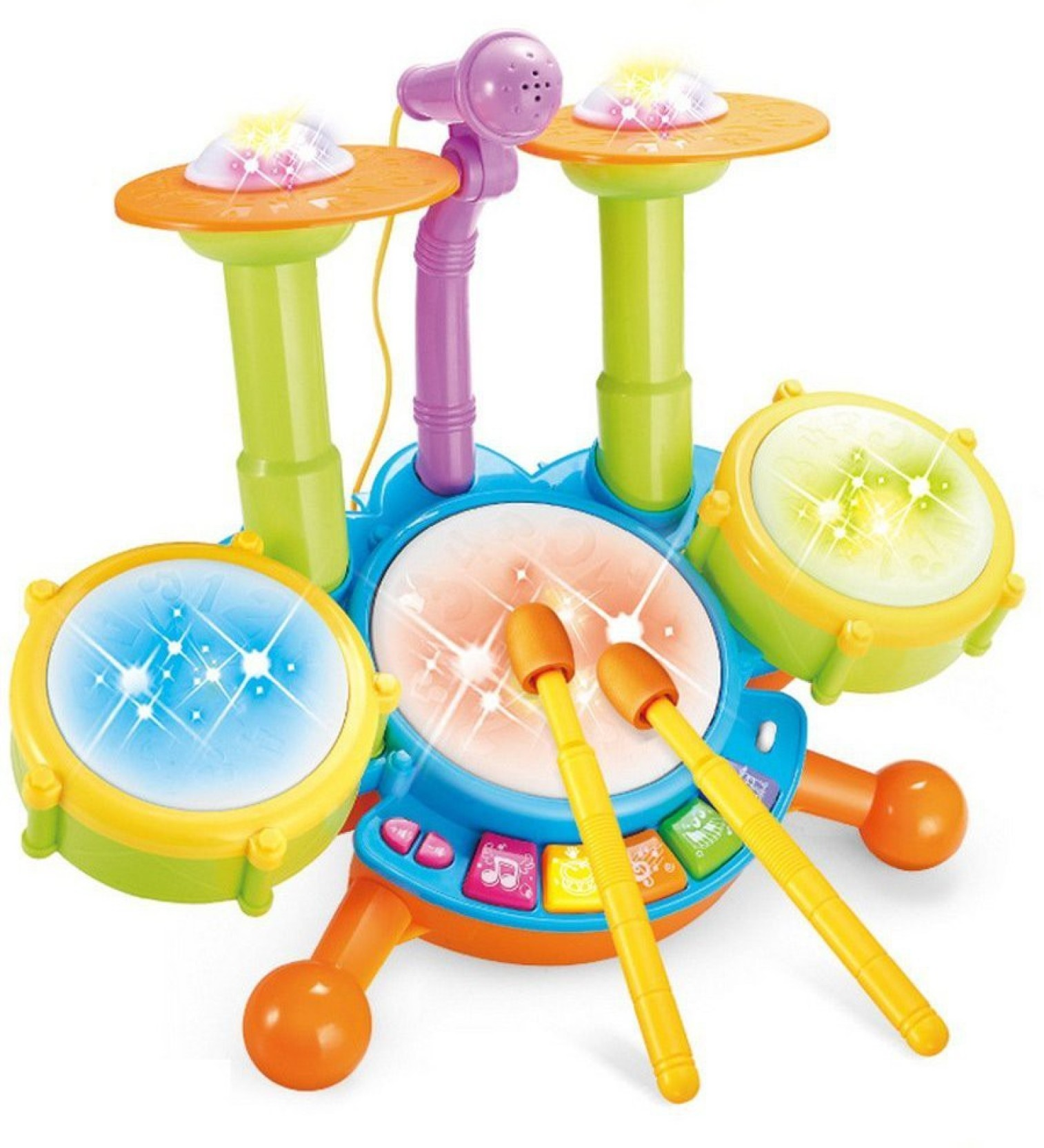 Montez Dynamic Jazz Fun Beats Musical DRUM SET With Mic For Kids
