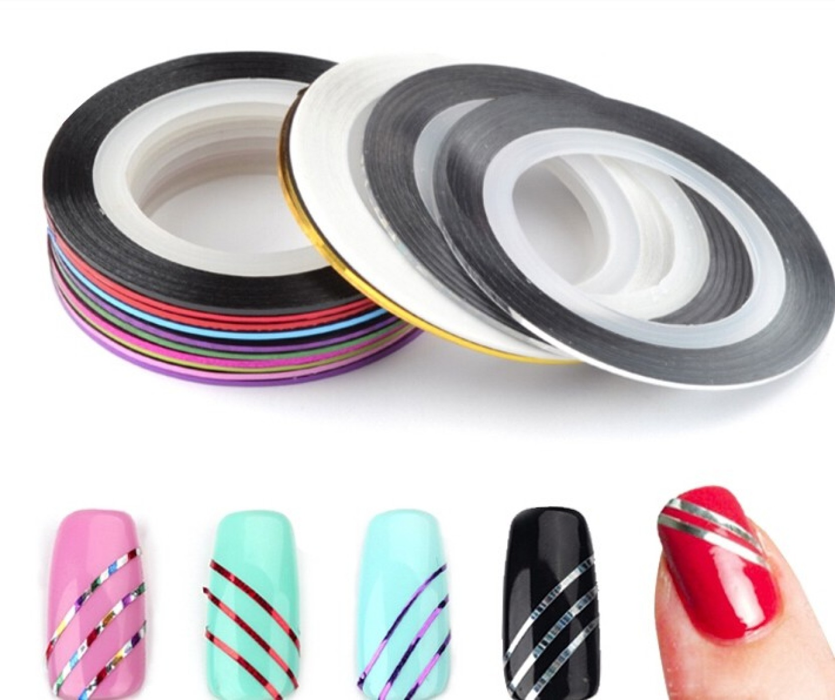 Looks United 10 X Mixed Color Nail Art Striping Rolls Tape Nail ...