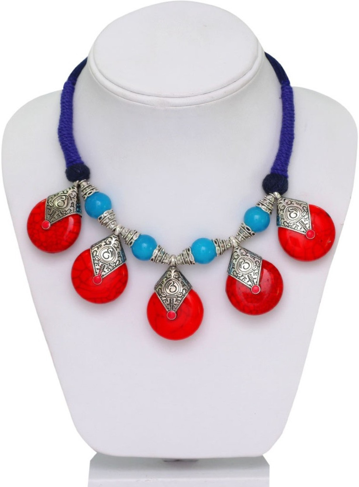 7d5237330a420 Jaipur Mart Ethnic Look Red & Firoza Stones with Oxidised Silver ...