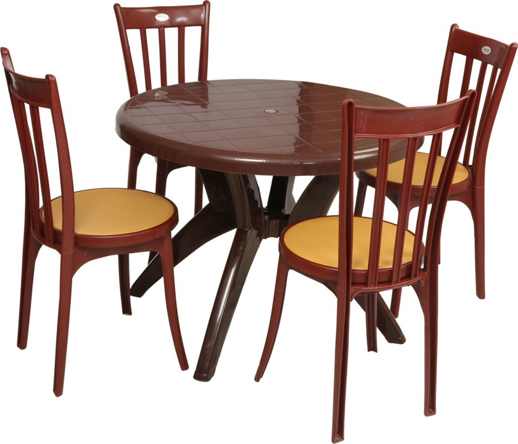 Supreme teak wood plastic table chair set price in india for Dining table without chairs