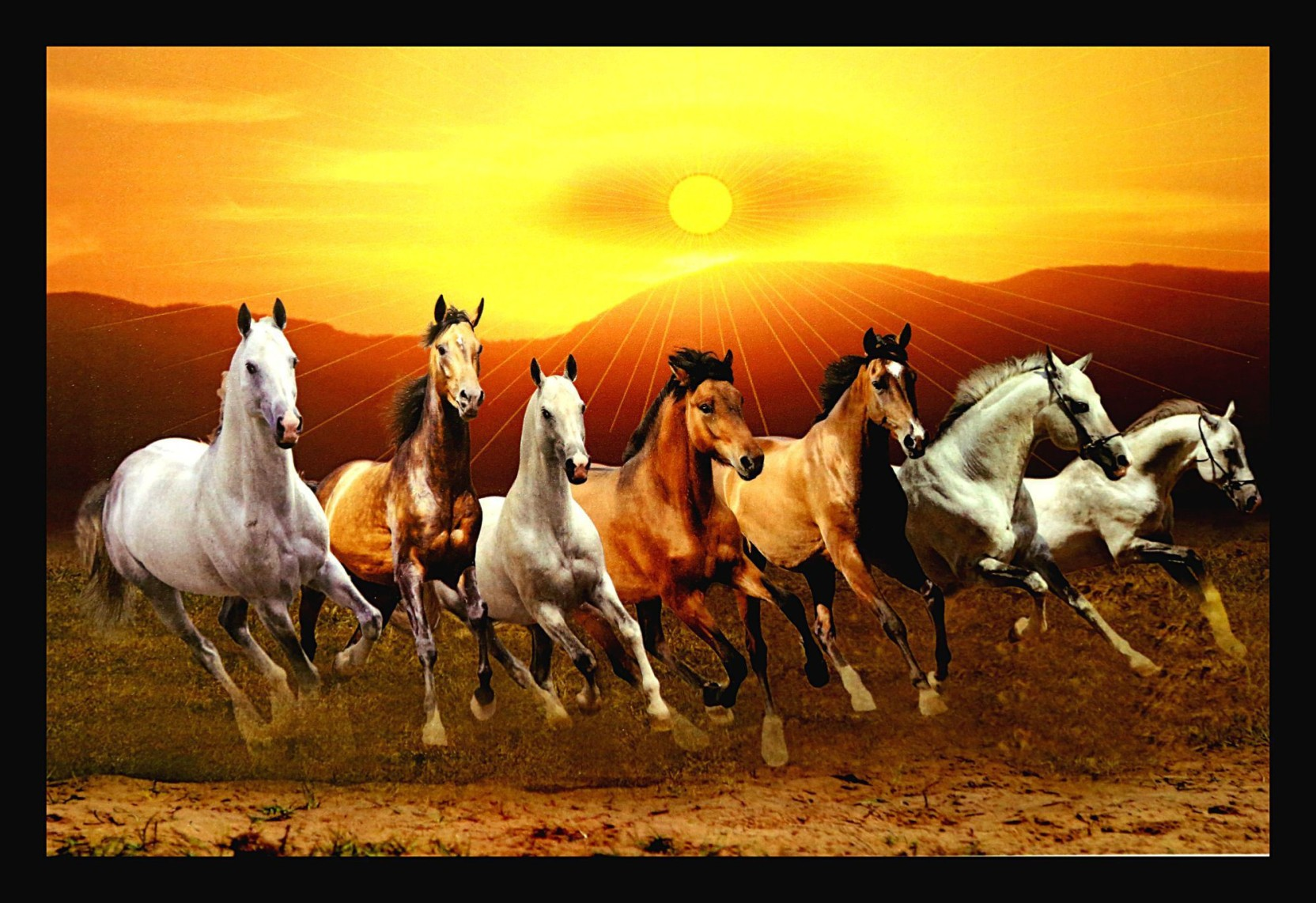 dkh lucky seven running horse canvas painting price in