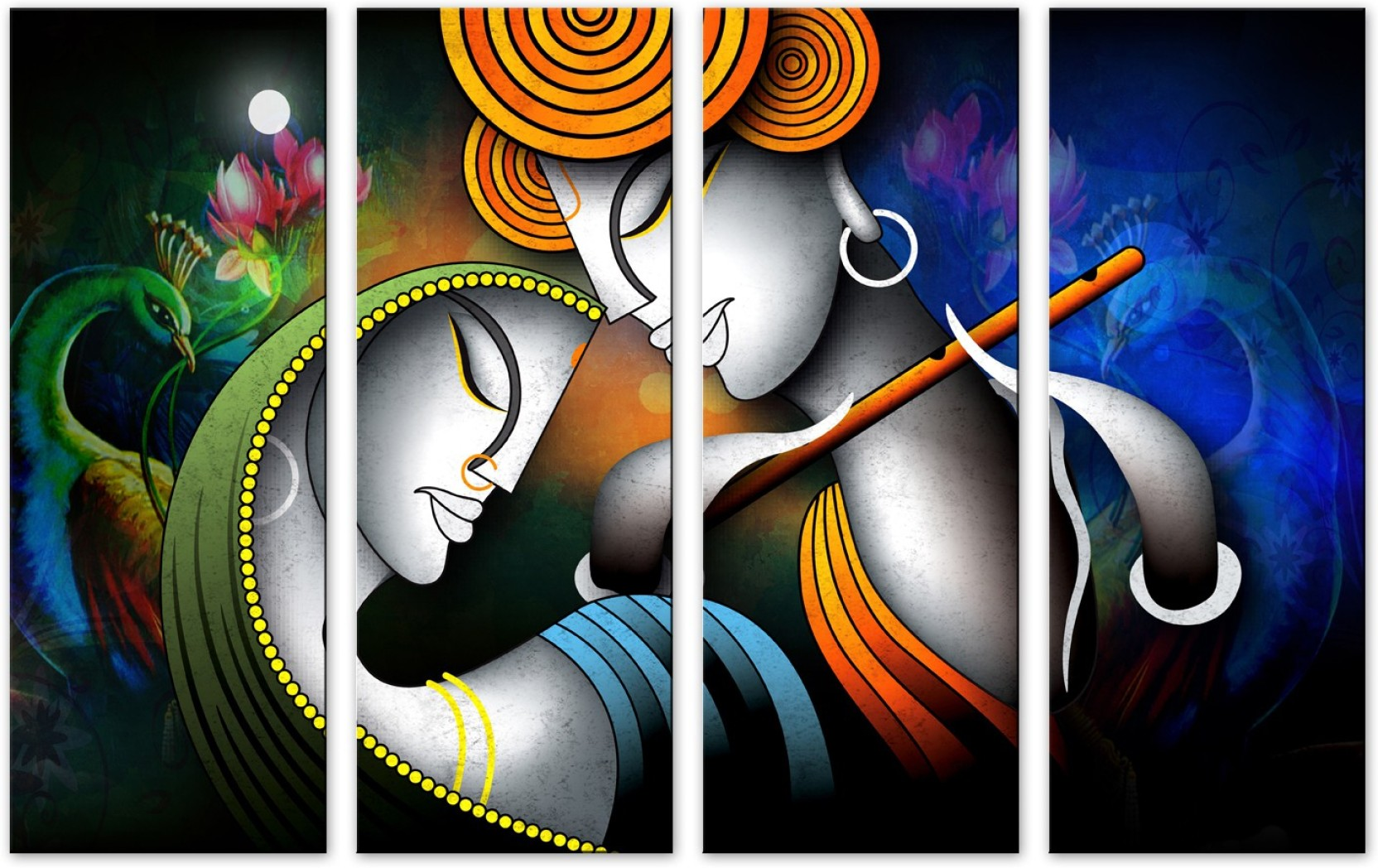 Saf Radha Krishna Premium Large 4 Panel Painting Ink