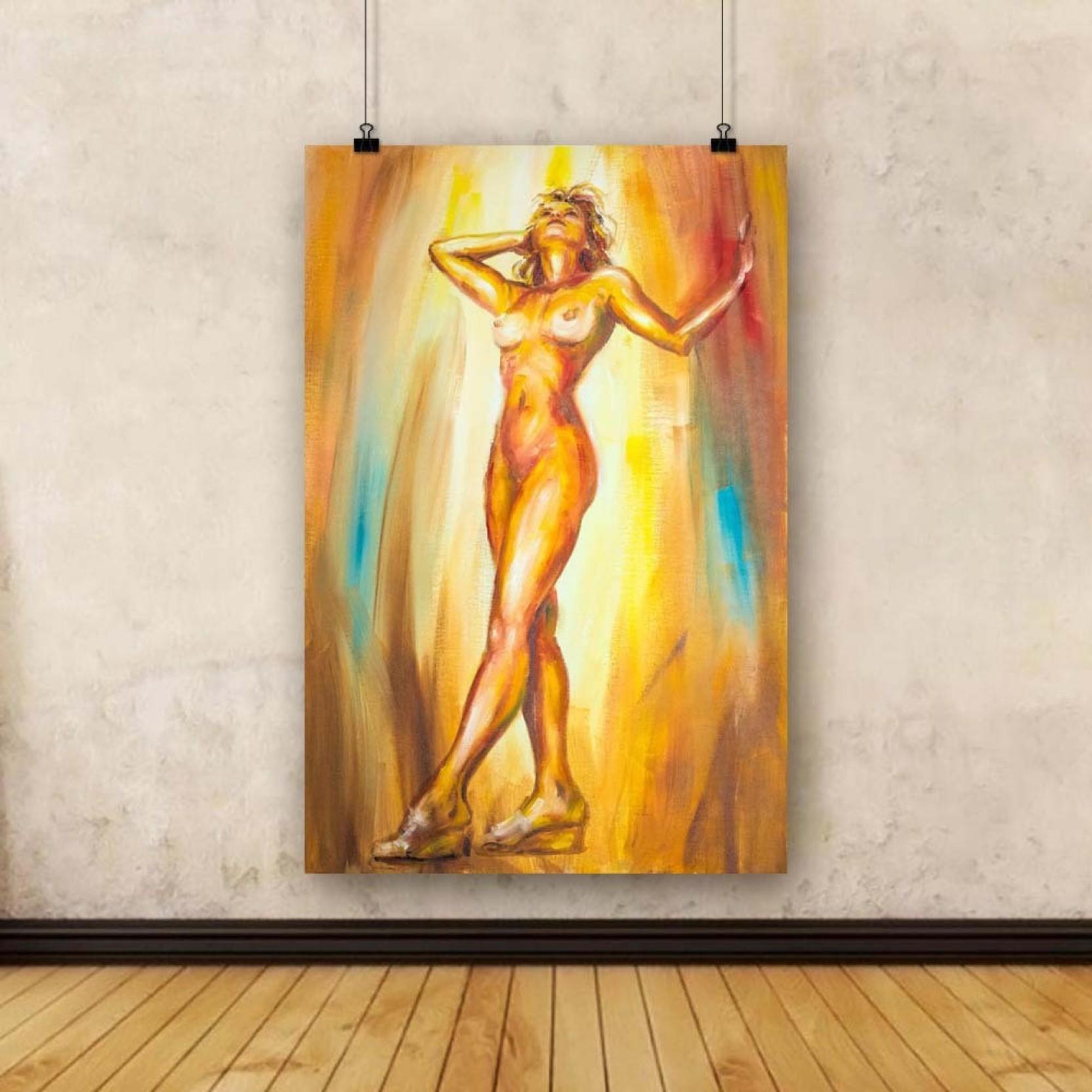 Artzfolio Beautiful Naked Woman Unframed Art Print Canvas Painting ...