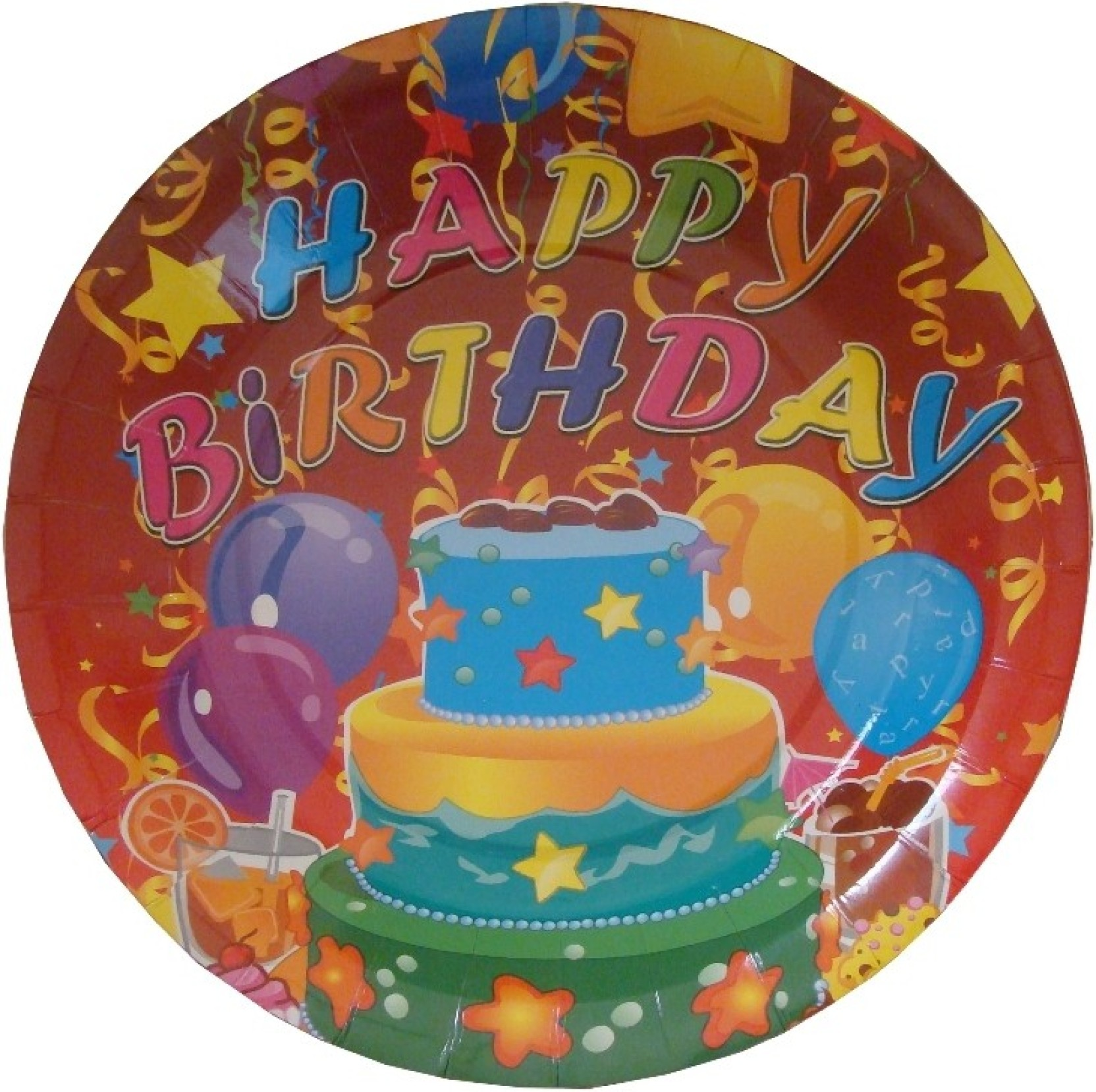 Shop A Party Happy Birthday Cake Plate Pack Of 6