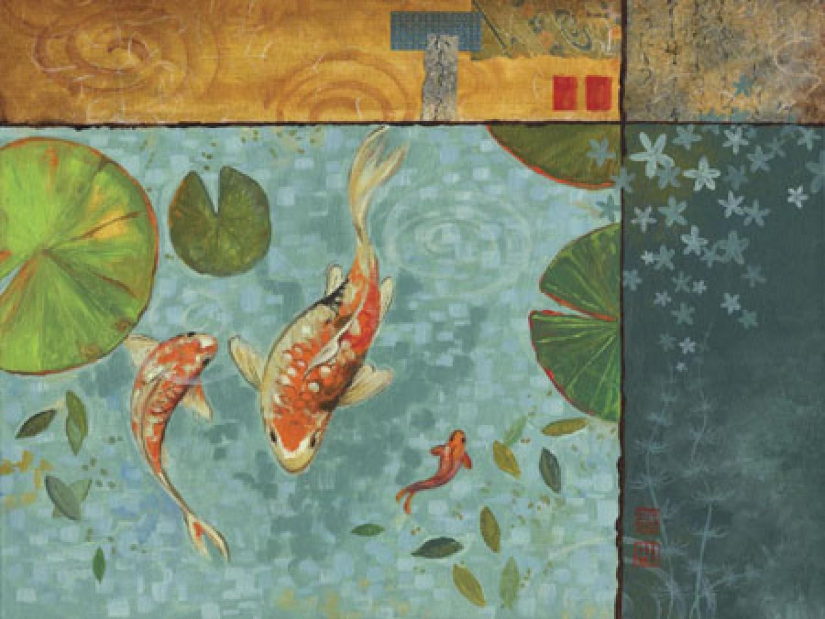 Koi pond serenity ii fine art print studio voltaire for Koi pond depth