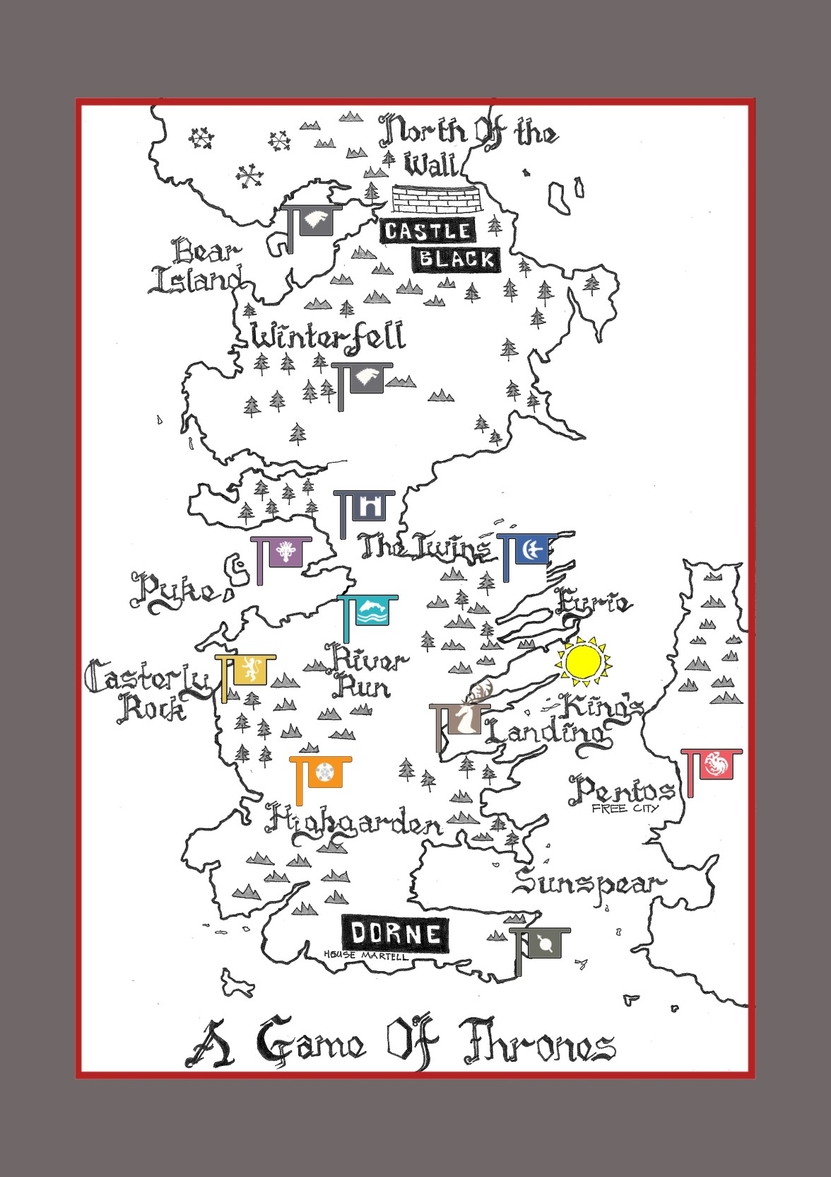 Game Of Thrones Westeros Map Poster Paper Print - Rectangle posters Map Of Game Thrones Poster on