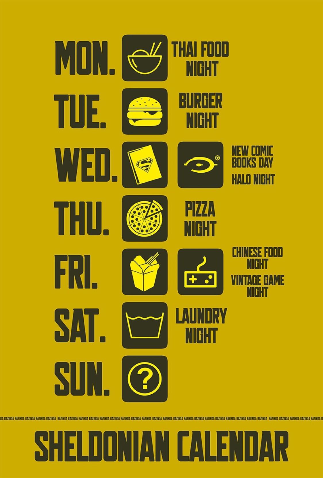 Bazinga - The Big Bang Theory, Sheldonian Week Calendar Paper Print ...