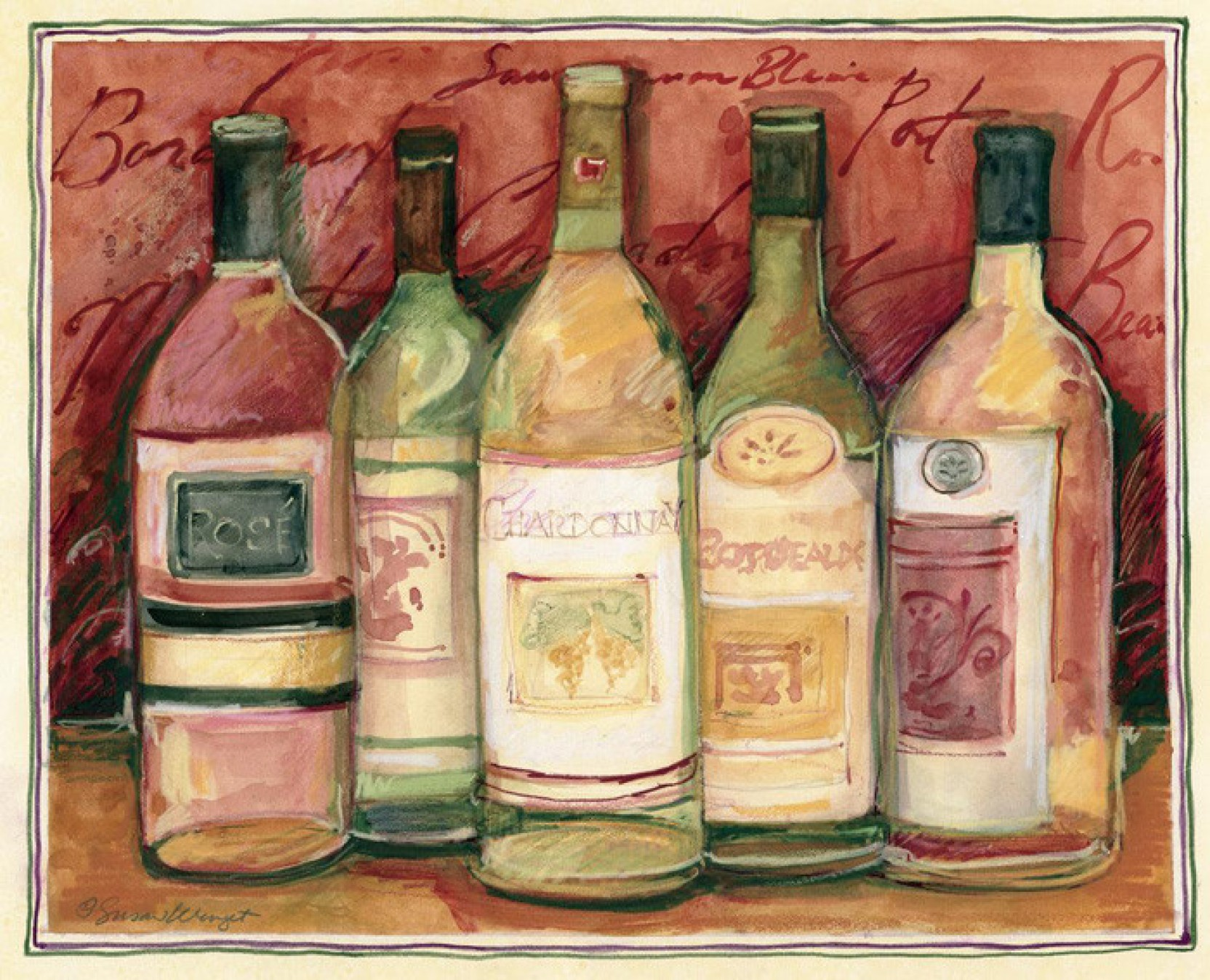 Wine Bottle On Red Fine Art Print Susan Winget Posters Cuisine Posters In India Buy Art