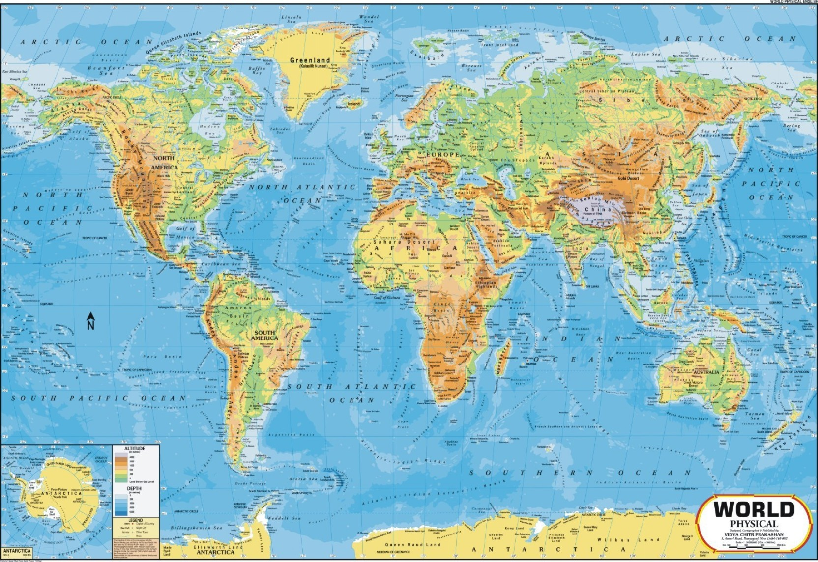 World Map Physical Wall Chart Paper Print Maps posters in India Buy a