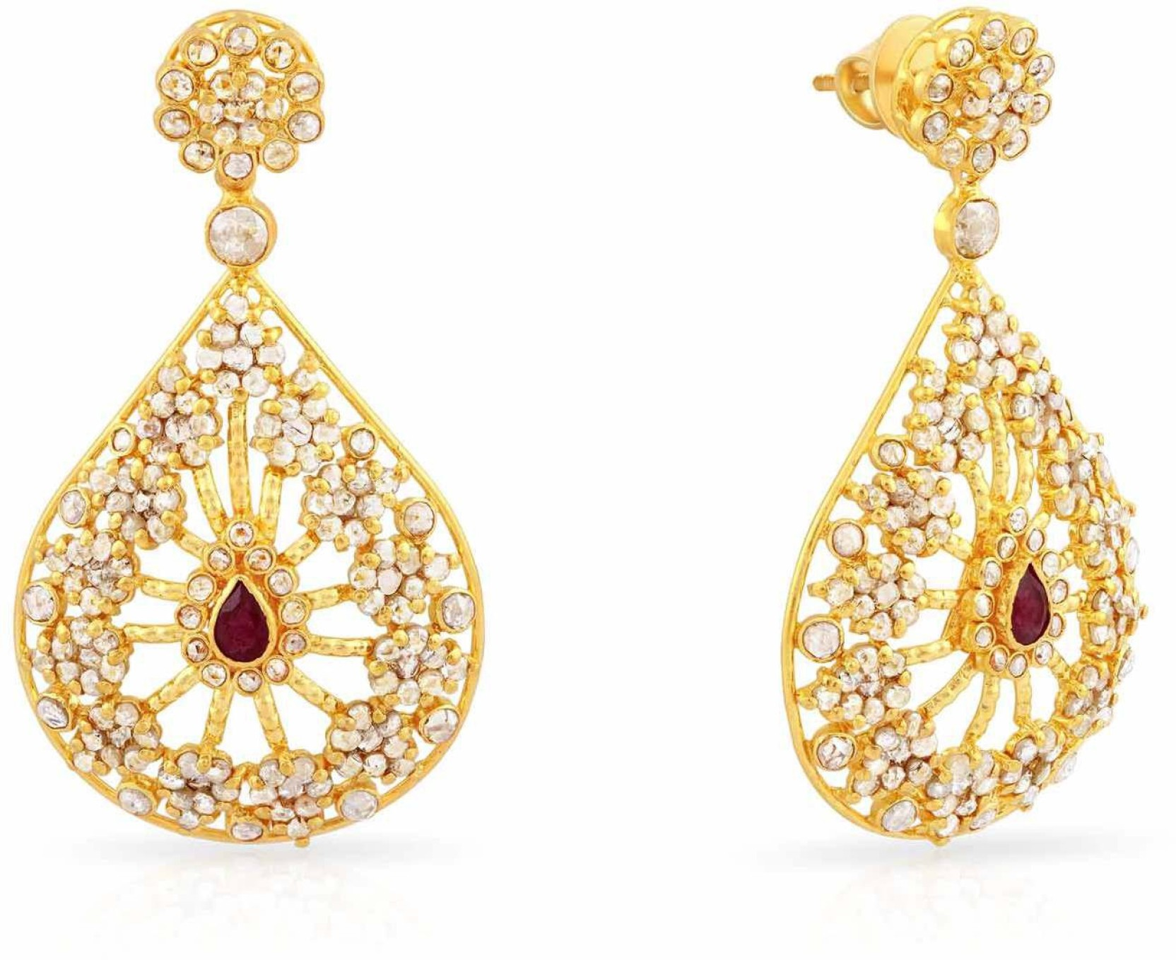 Malabar Gold and Diamonds Yellow Gold 22kt Dangle Earring Price in