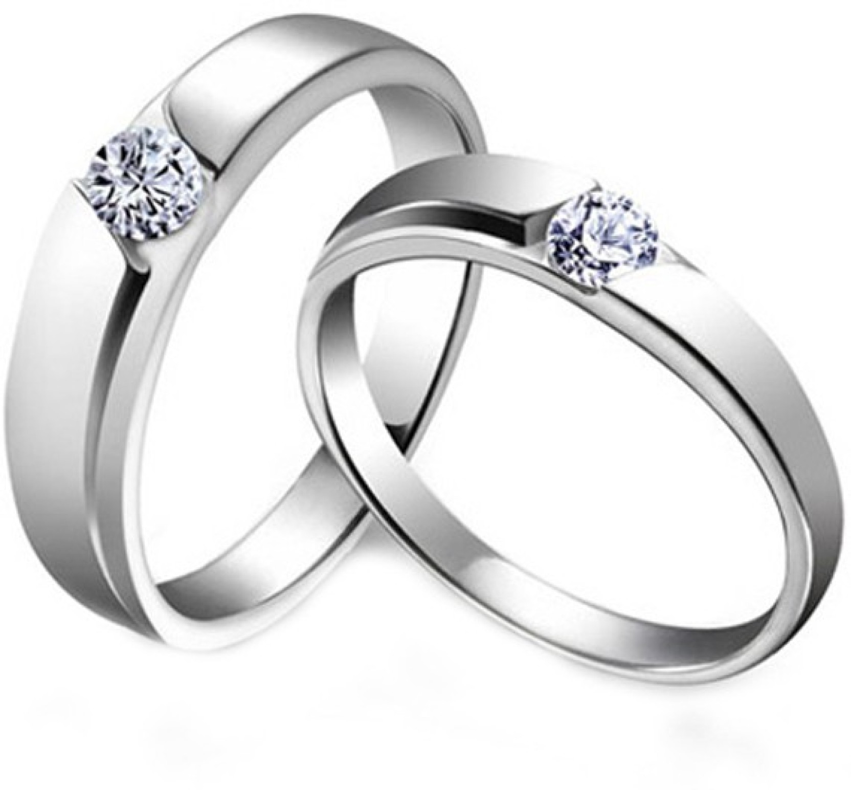 Young Forever 925 Sterling Silver CZ Wedding Band Couple Alloy