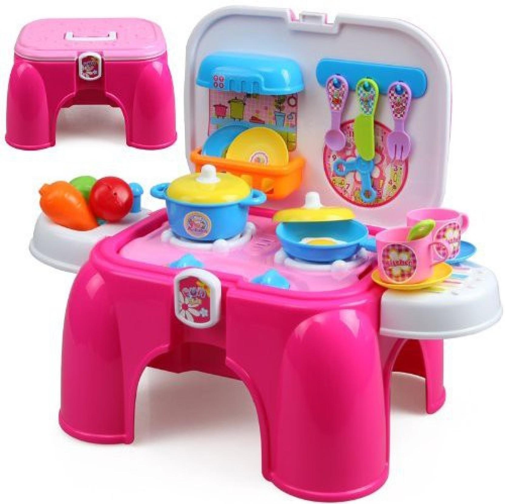 Just Toys Kids Role Play Kitchen Set 2 in 1 storage cum sitting