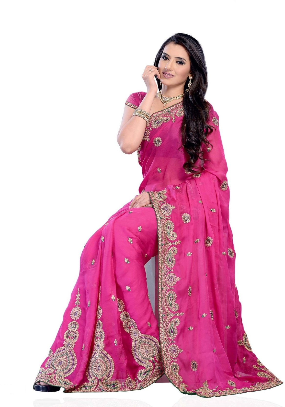 Buy Diva Fashion Self Design Fashion Georgette Pink Sarees