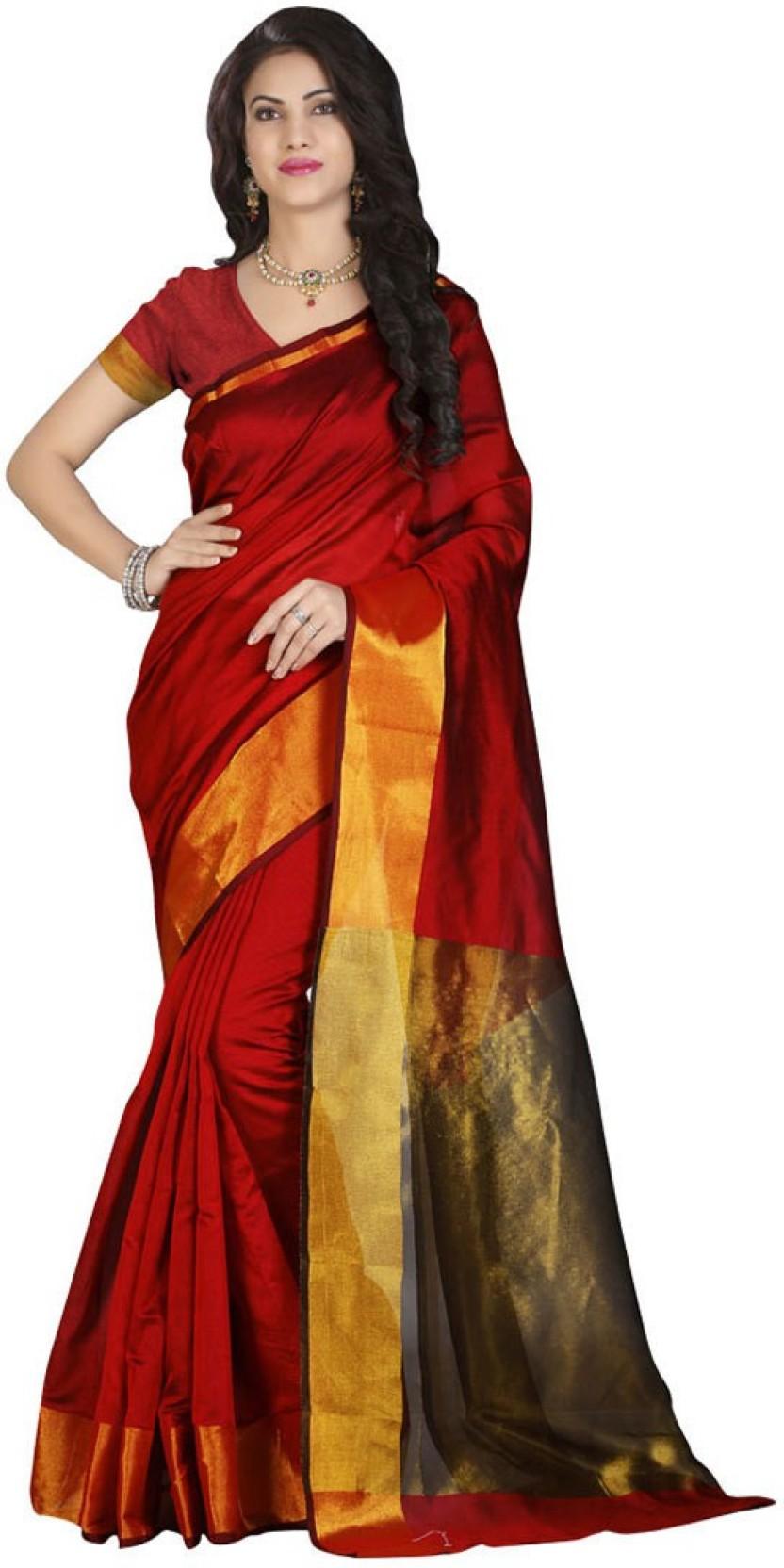 9894096f774e7e Cozee Shopping Solid Fashion Cotton Saree (Red