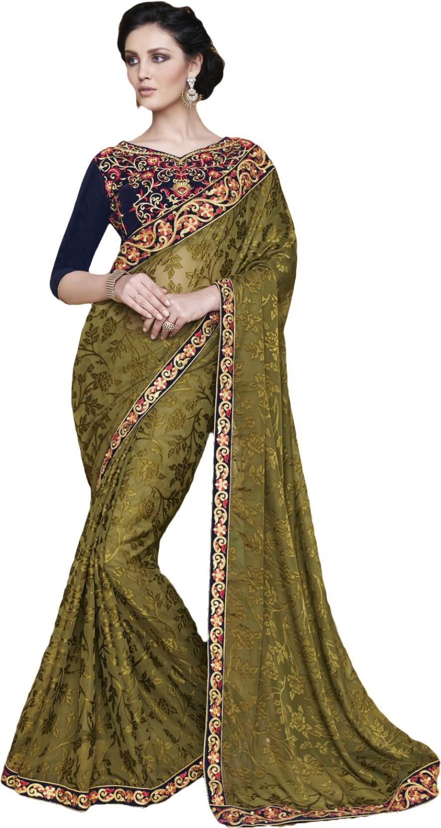ddb578f8ef Buy Prachi Silk Mills Embroidered Fashion Brasso Green Sarees Online ...