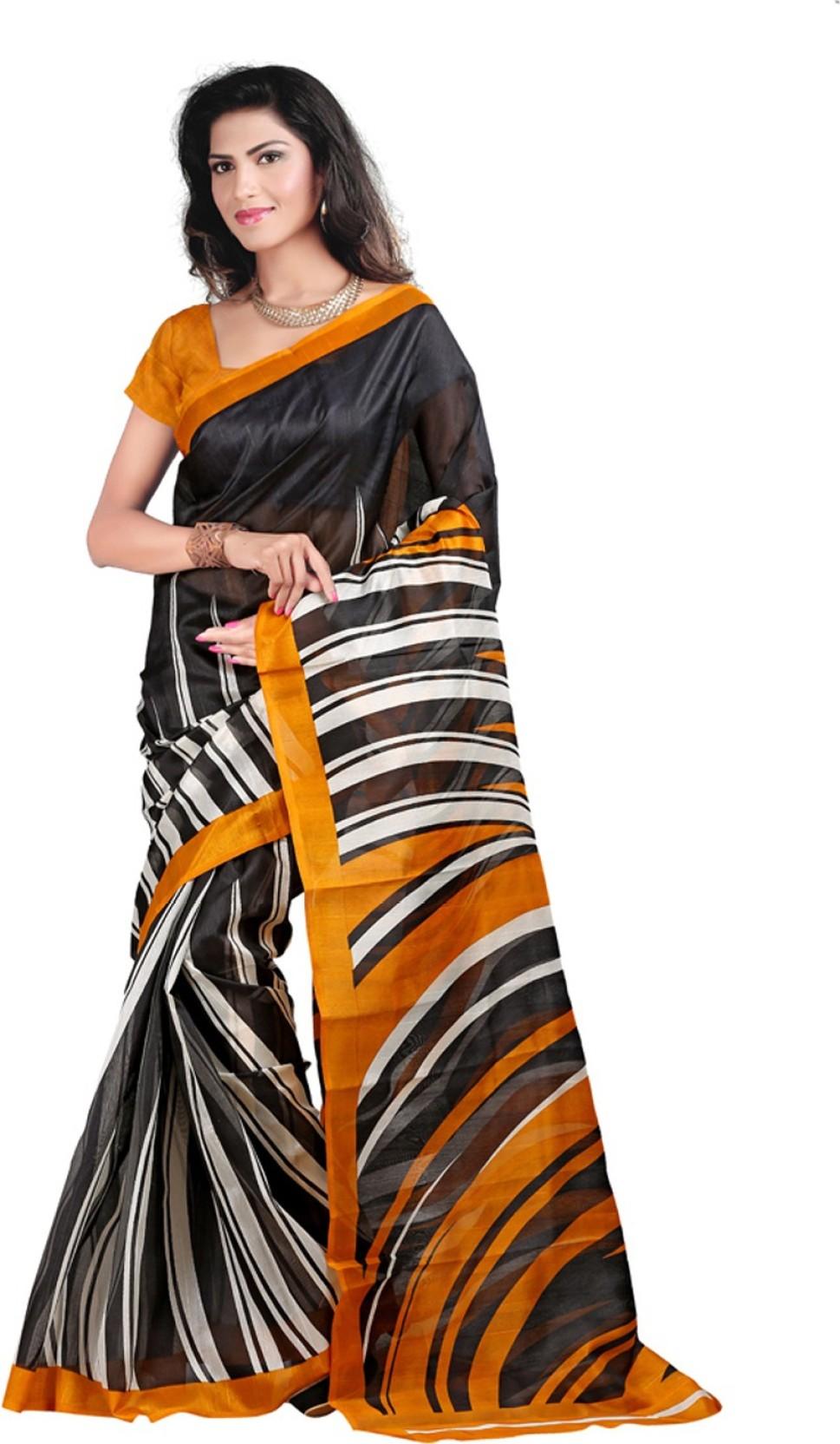 545c3136e4 Buy Wwskey Printed Bhagalpuri Silk Black, Yellow Sarees Online ...