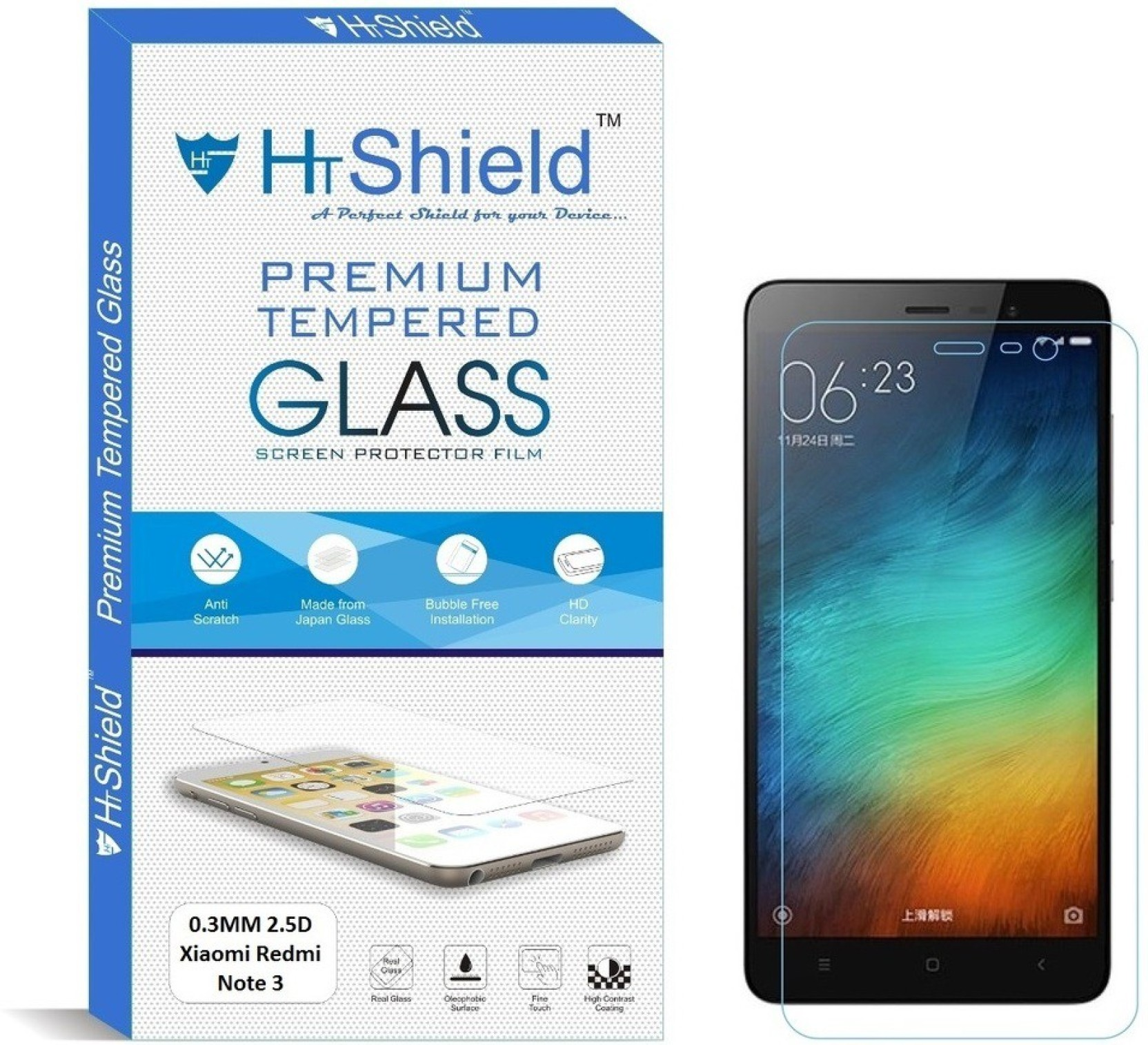 Htshield Tempered Glass Guard For Xiaomi Redmi Note 3 55 Inch 03mm 2 Display Share