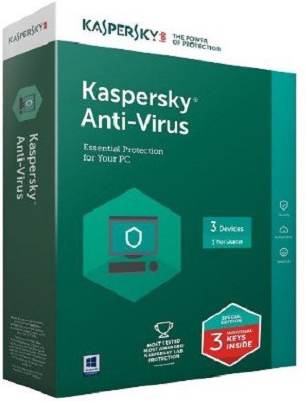 KASPERSKY Anti Virus 2016 3 PC 1 Year