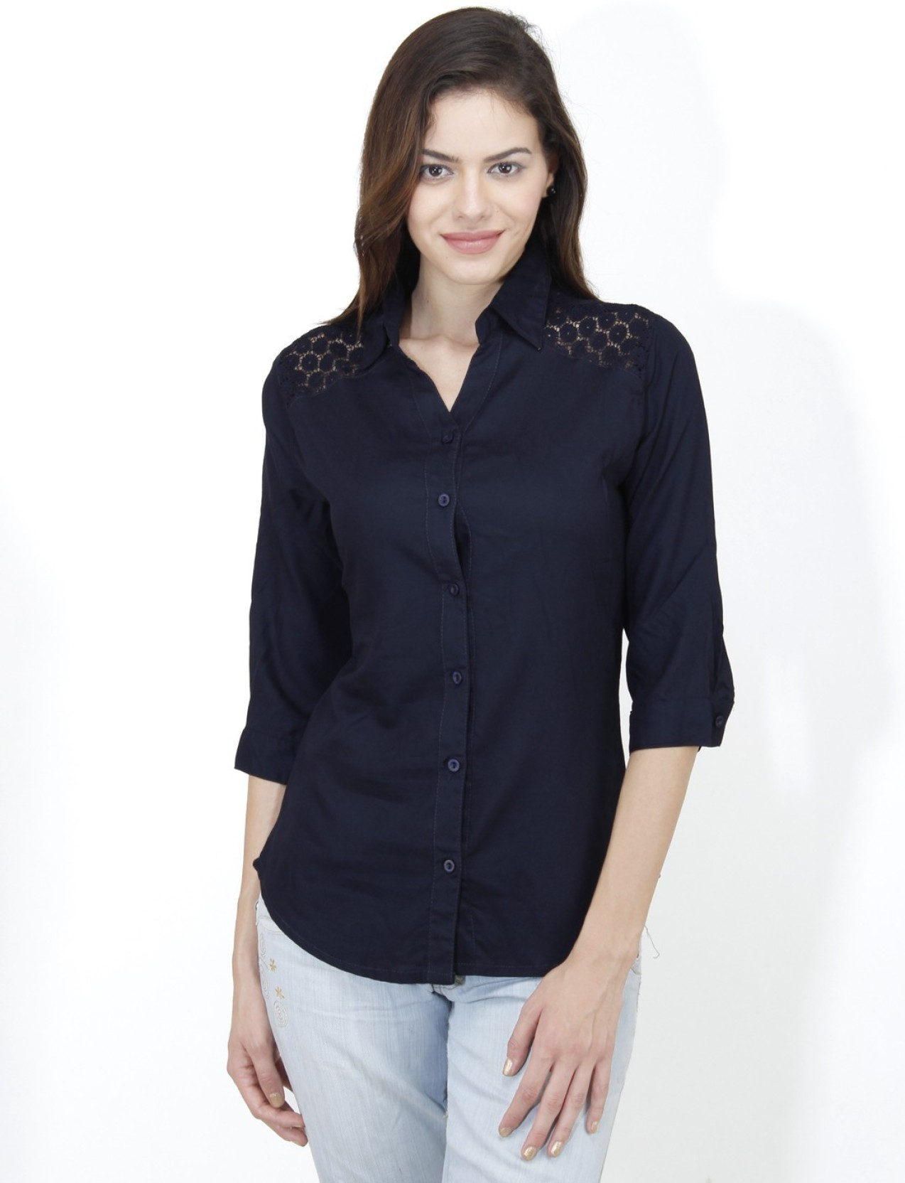 Mayra Women 39 S Solid Casual Dark Blue Shirt Buy Navy Blue