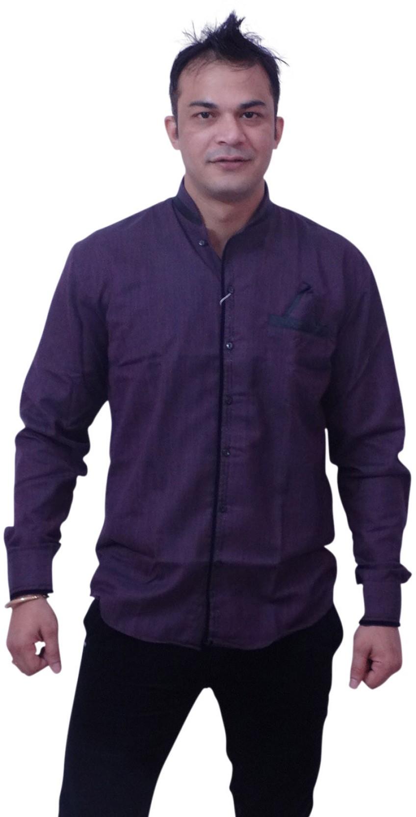 Manzon Men\'s Solid Casual Mandarin Collar Shirt - Buy Dark Purple ...