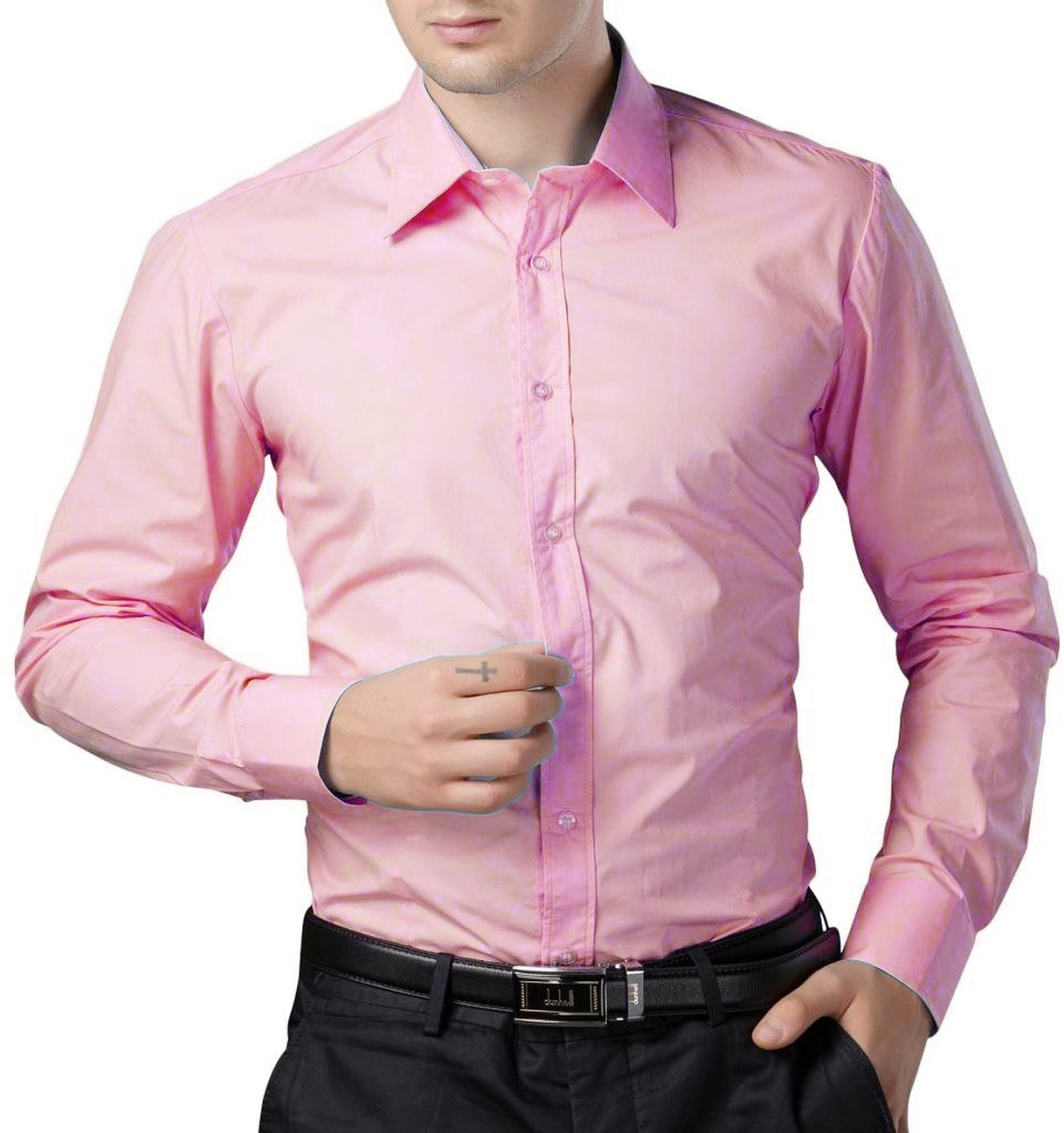 Being fab men 39 s solid formal pink shirt buy pink being for Mens pink shirts uk