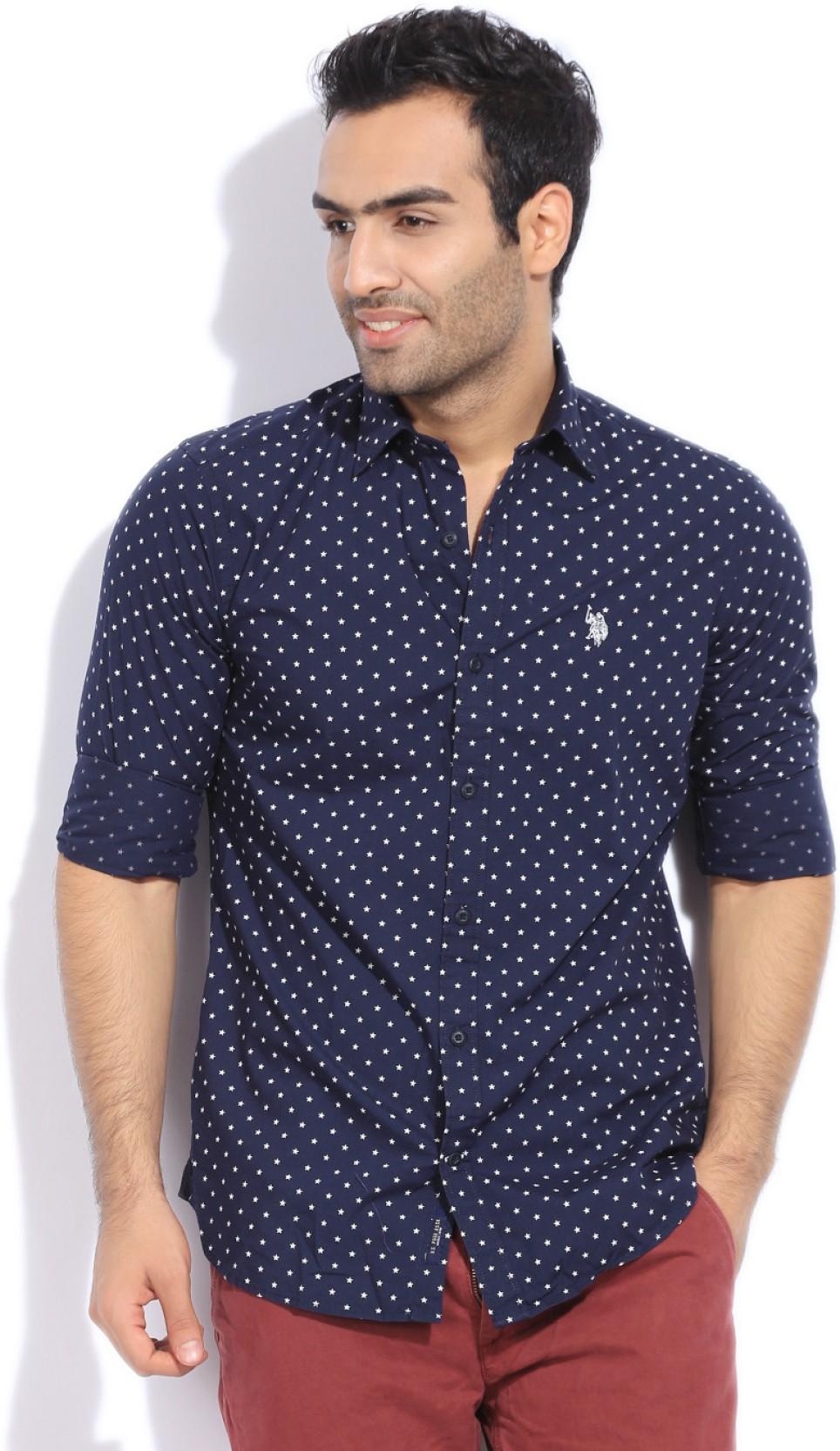 Us Polo Assn Mens Printed Casual Blue Shirt Buy Navy Us Polo