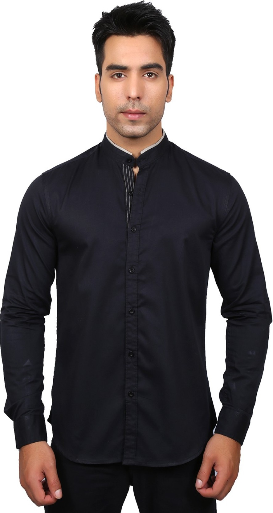 Ivyn Mens Solid Casual Nehru Collar Shirt Buy Black Ivyn Mens