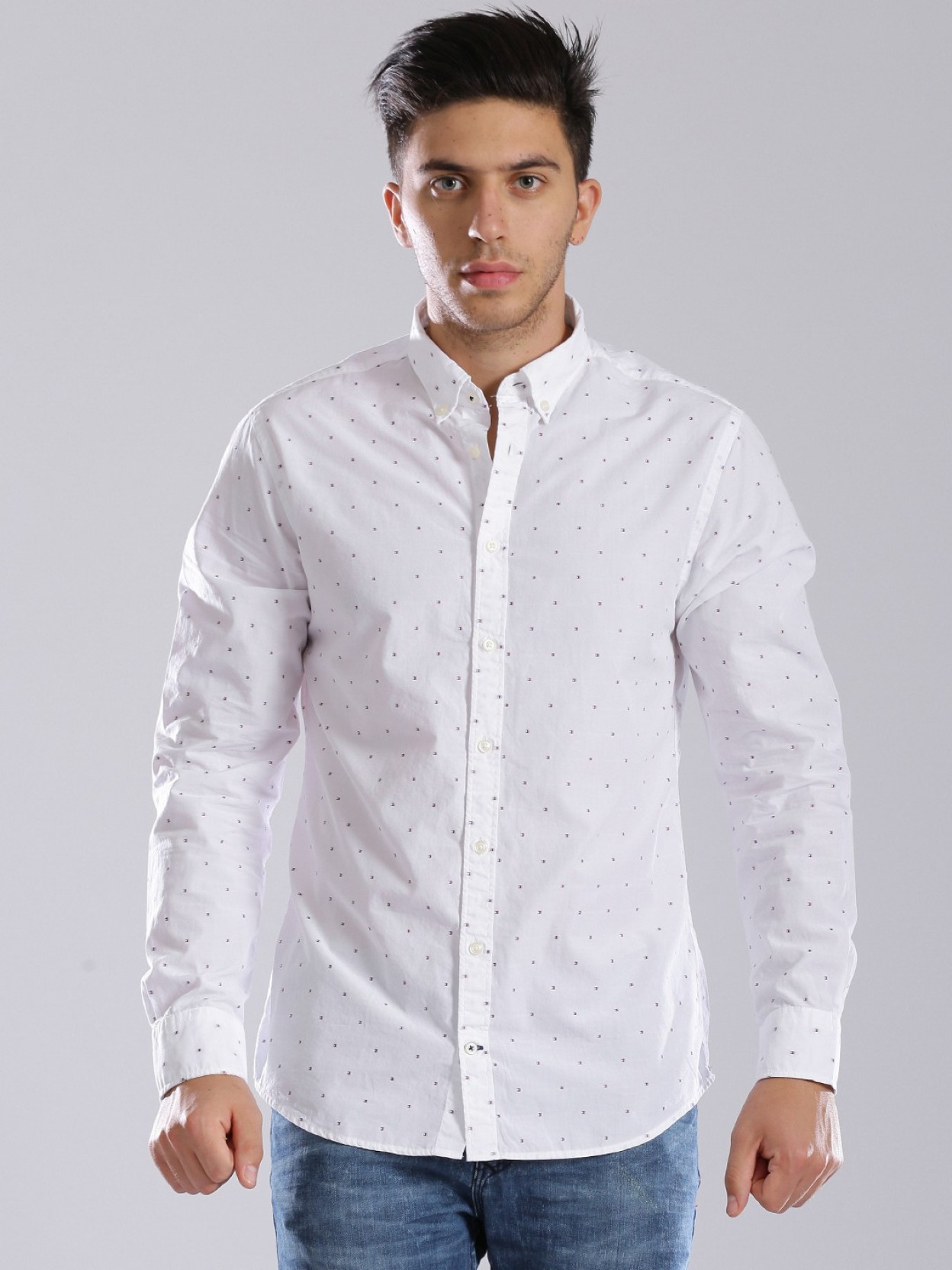 Tommy Hilfiger Mens Polka Print Casual Shirt Buy White Tommy
