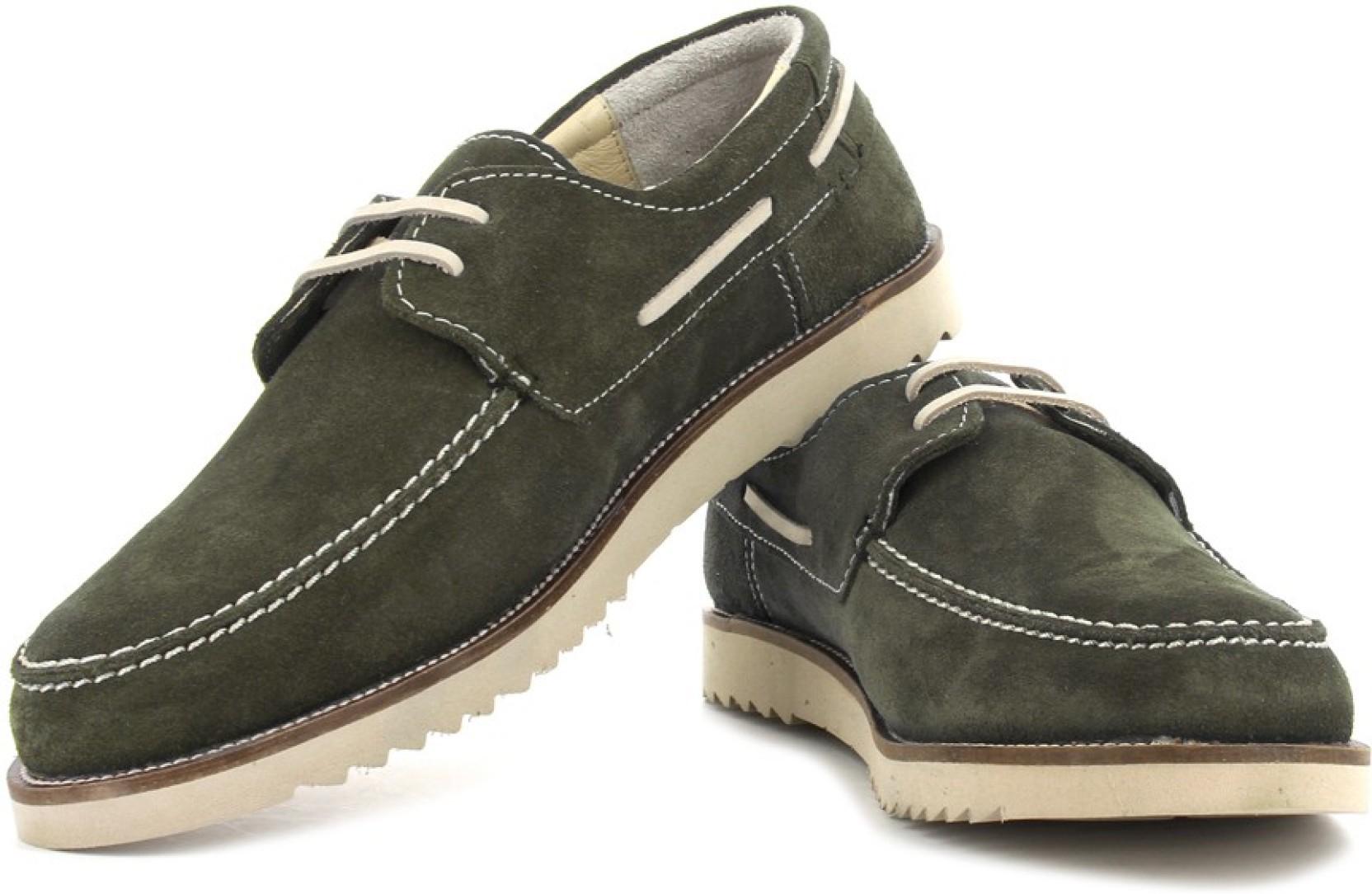 Woodland Boat Shoes - Buy Olive Green Color Woodland Boat ...