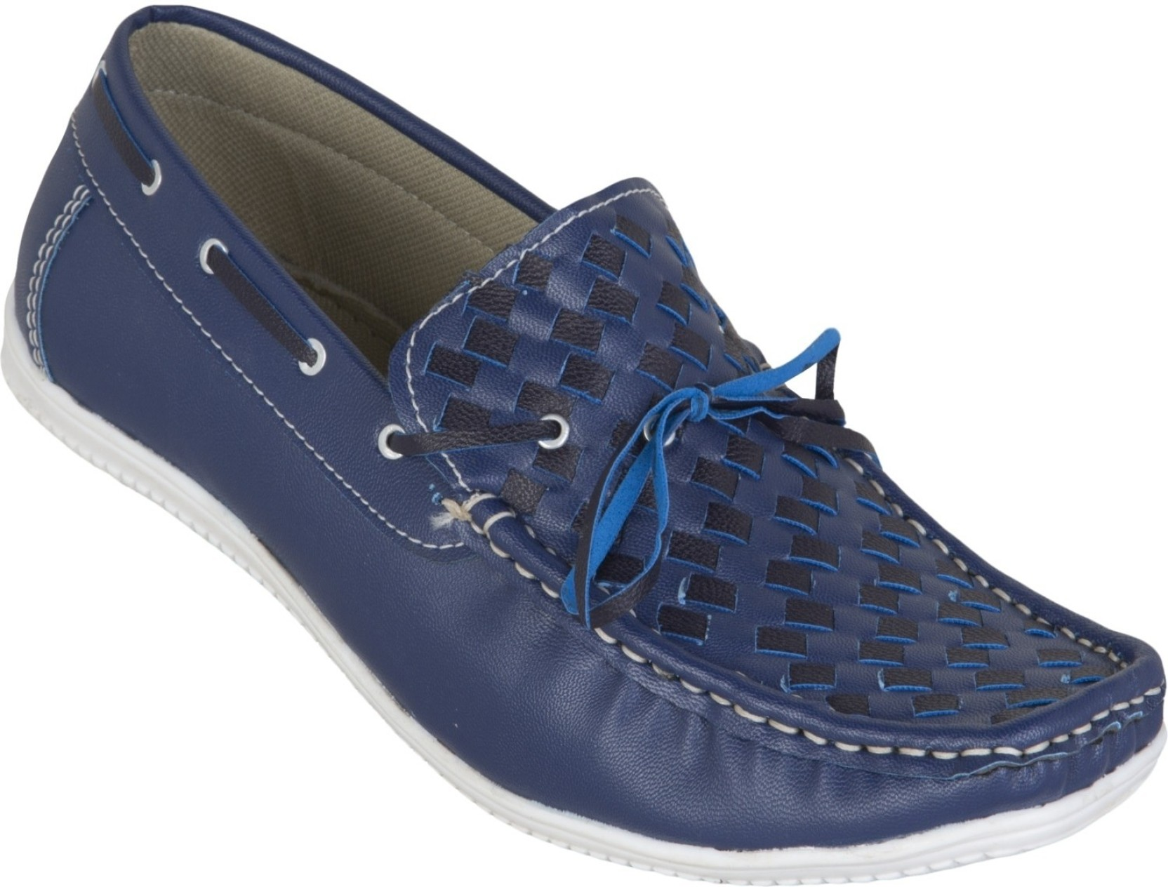 b6fbdf5af7 Zovi Ink Blue with Tie-up Detailing Boat Shoes For Men - Buy Blue ...