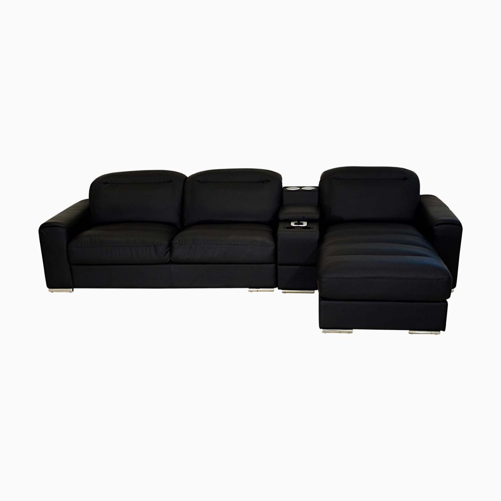 Sectional Sofa India Online: Godrej Interio ACOUSTICA L-SHAPE BLK SOFA Leatherette 3