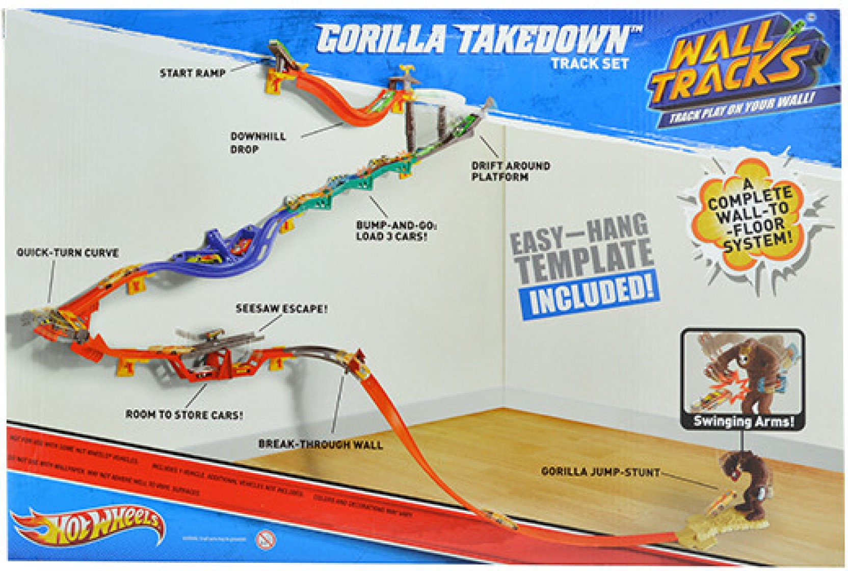 Hot wheels gorilla takedown wall to floor action track for Hot wheels wall tracks template