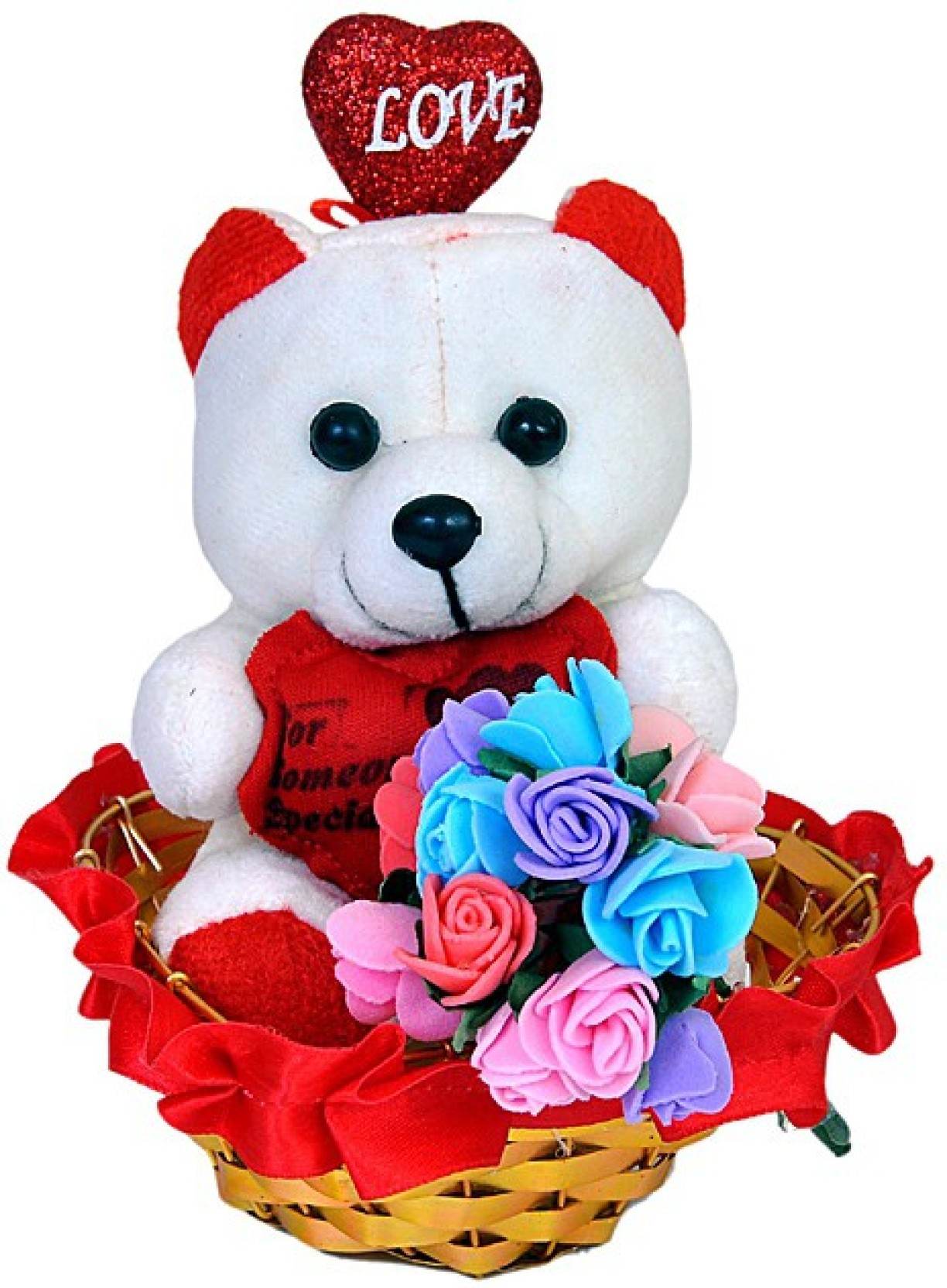 Pingaksh crafty collection cute teddy with heart flower bouquet in home izmirmasajfo