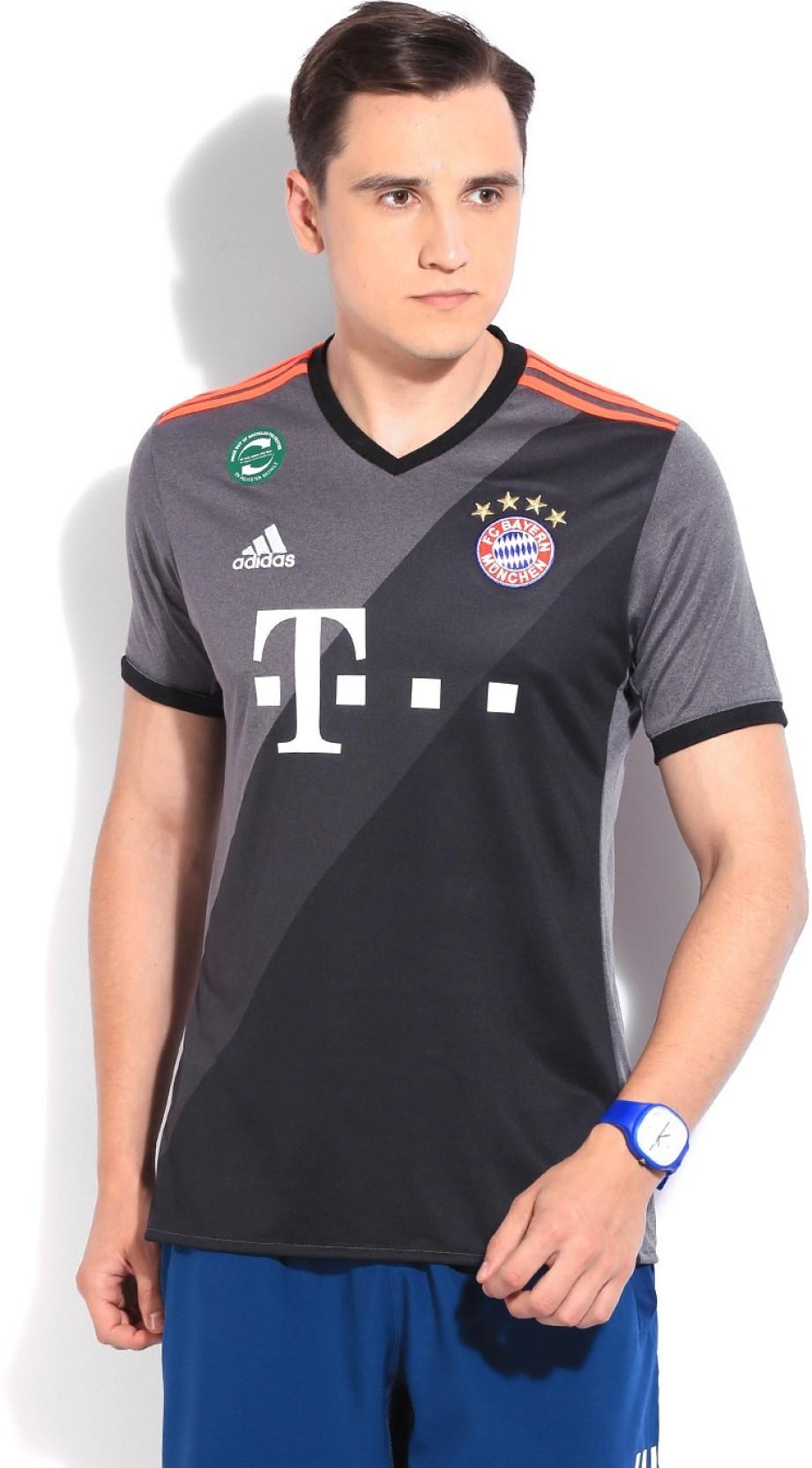 official photos d5009 b94c5 ADIDAS Bayern Munich Printed Men's Round Neck Black, Grey T-Shirt