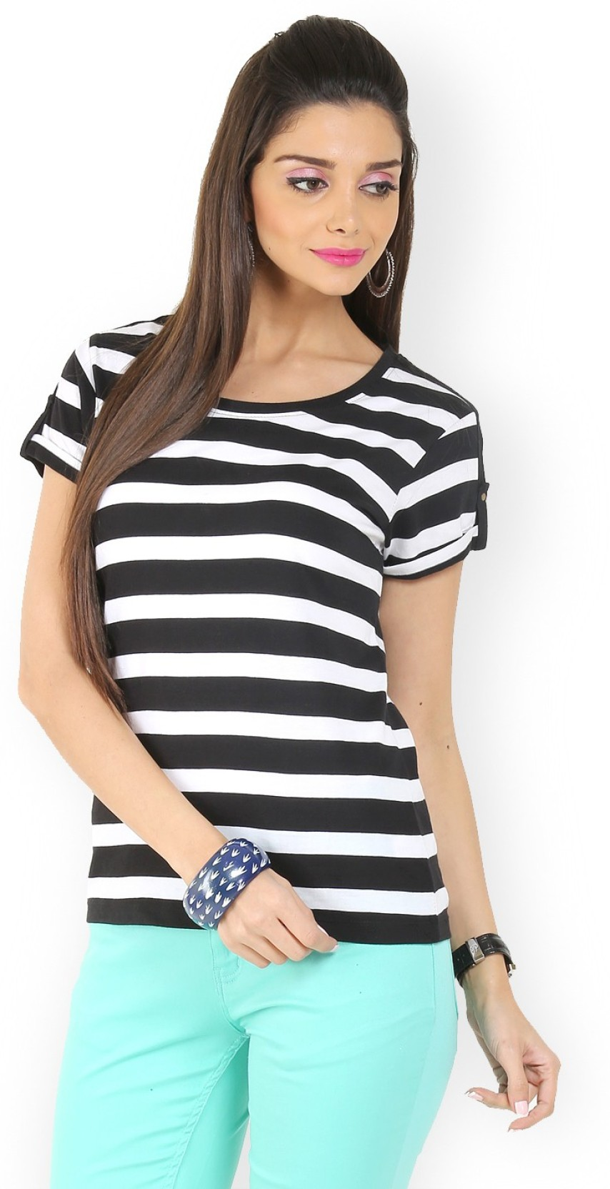 8d595eed1c4 Black And White Striped Womens Tee Shirt - raveitsafe