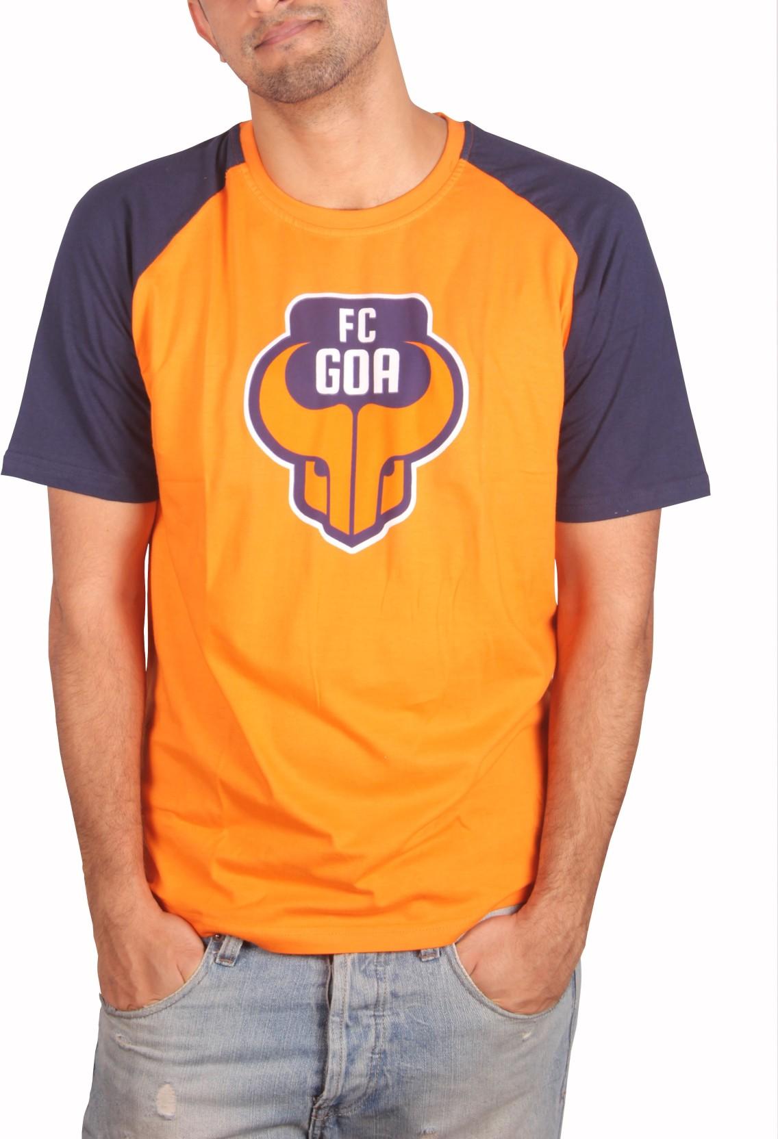 8848 Sports Merchandise Self Design Mens Round Neck Orange T Shirt