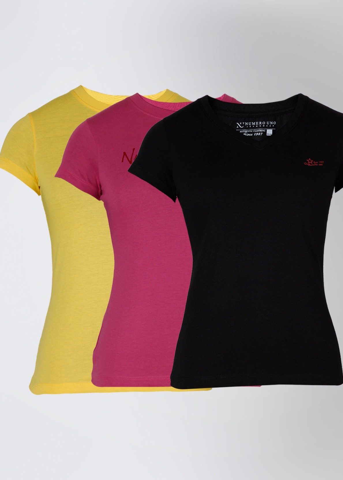 137b4657 Numero Uno Solid Women's Round Neck Black, Yellow, Pink T-Shirt (Pack of 3)