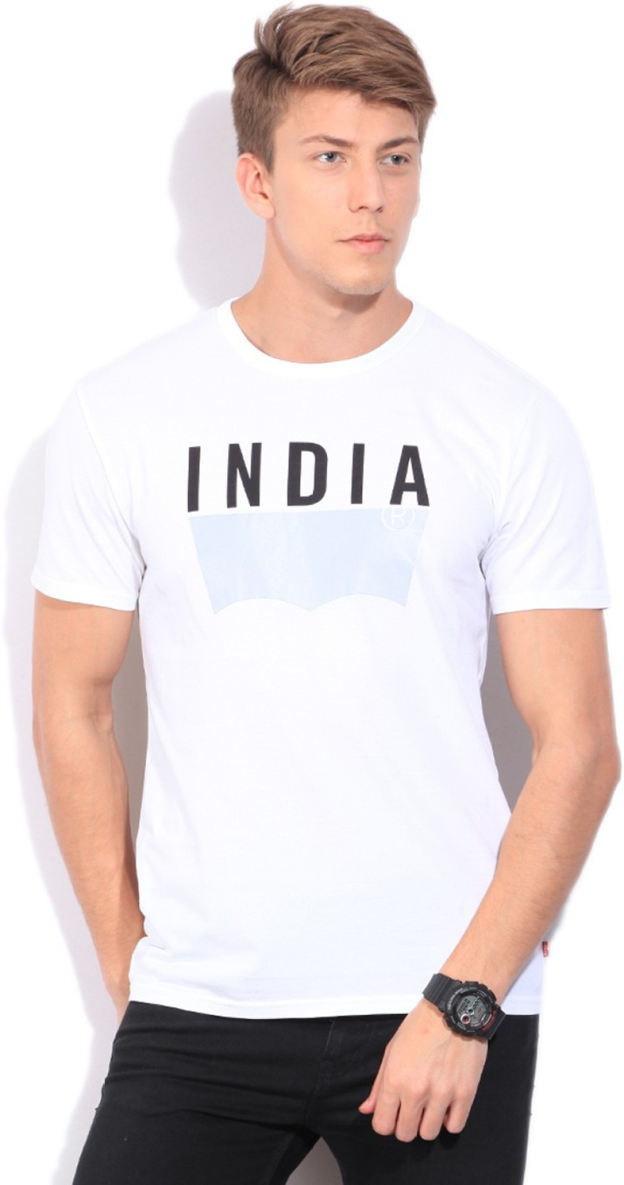 Levi 39 s printed men 39 s round neck white t shirt buy white for Printed t shirts india