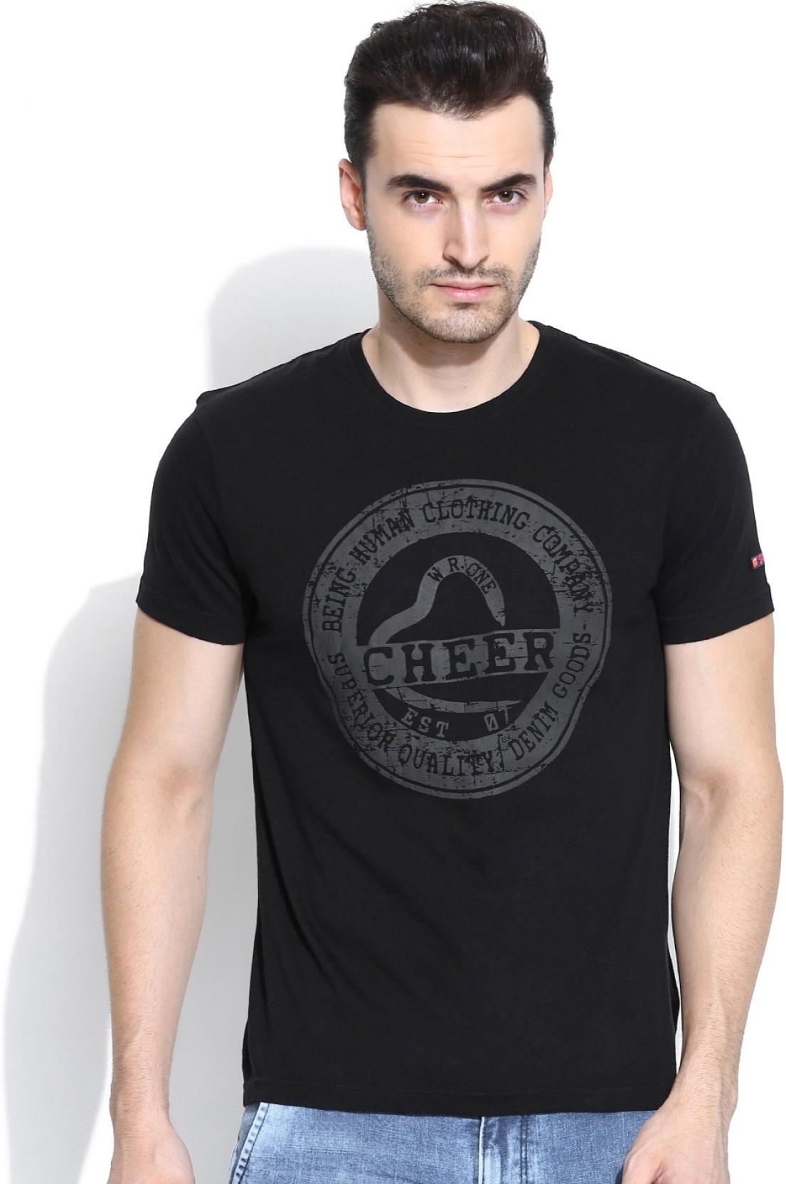 62edc49c Being Human Printed Men's Round Neck Black T-Shirt - Buy Black Being ...