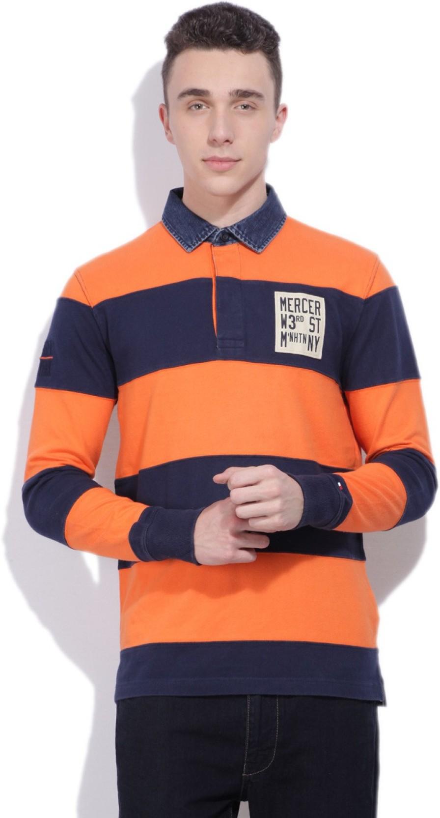 9c99e249 Tommy Hilfiger Striped Men's Polo Neck Orange, Blue T-Shirt - Buy ...