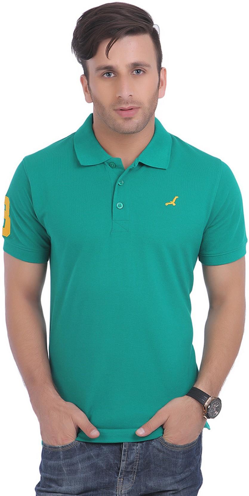 14b84fb05 American Crew Solid Men's Polo Neck Dark Green T-Shirt - Buy Dark ...
